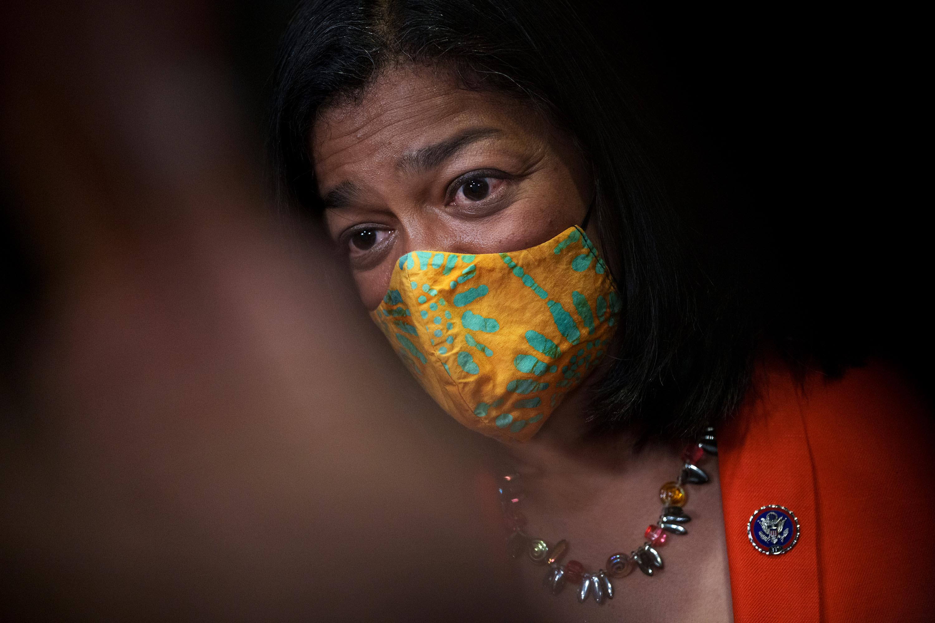 Chair of the Congressional Progressive Caucus Rep. Pramila Jayapal (D-WA) speaks to reporters after a closed-door meeting with fellow Progressive Democrats at the U.S. Capitol October 1, 2021 in Washington, DC.