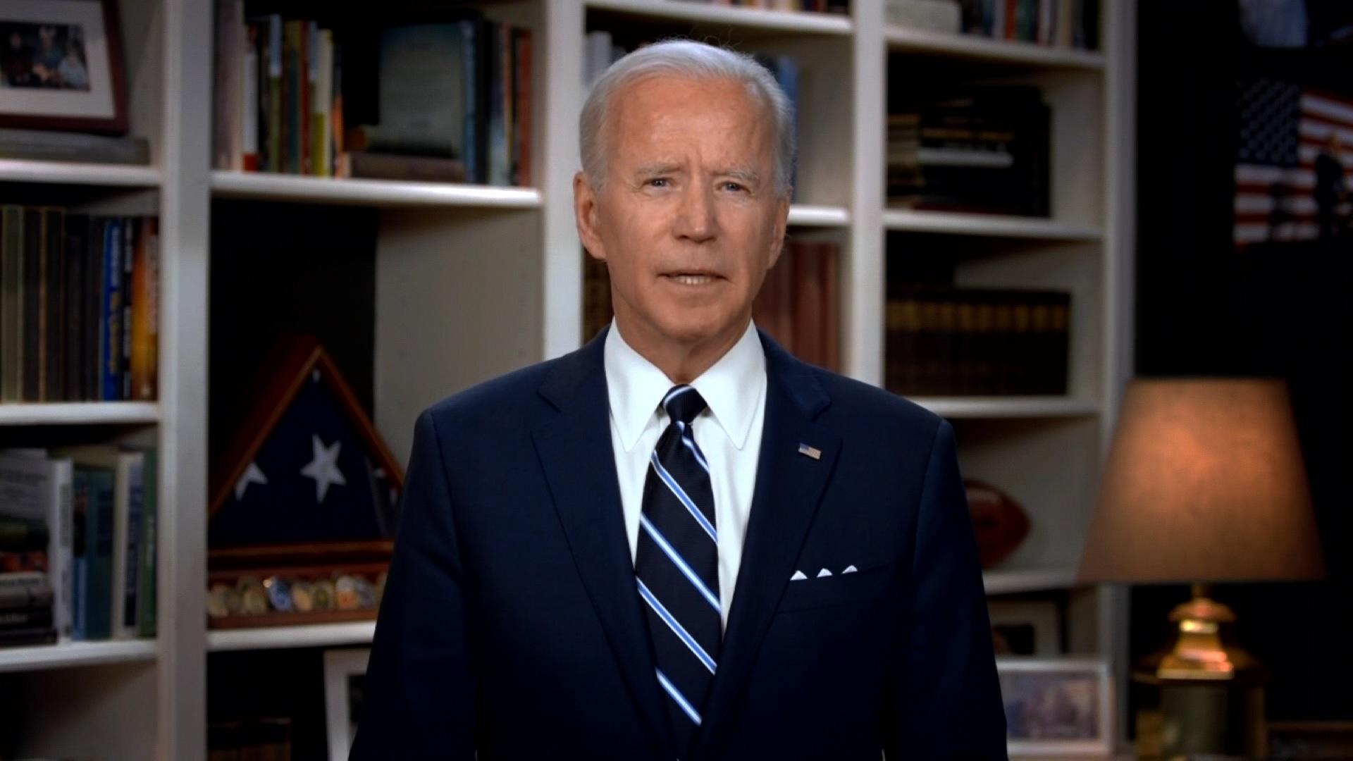 Former Vice President Joe Biden speaks over video at George Floyd's funeral at The Fountain of Praise church in Houston on June 9.