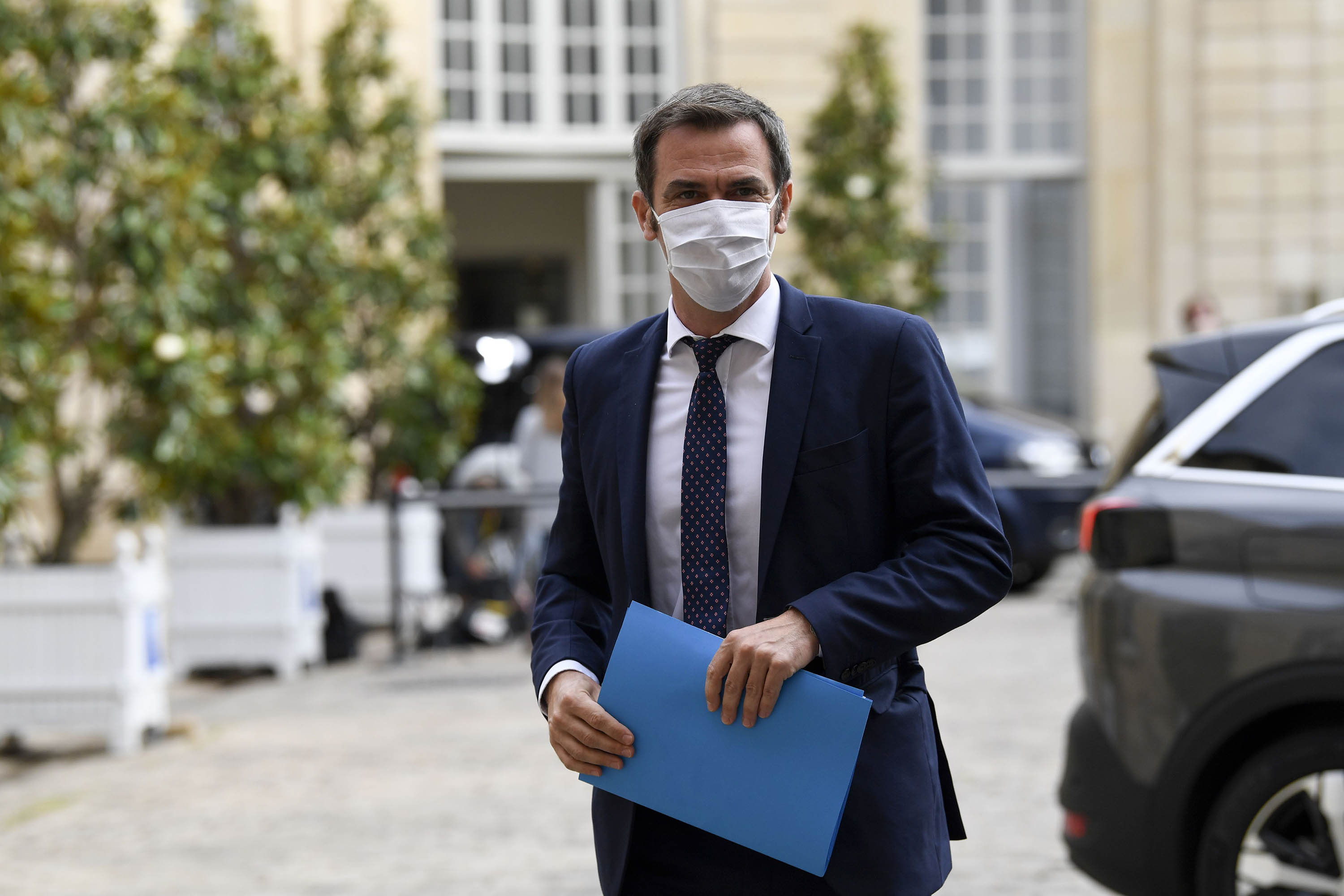 French Health Minister Olivier Véran is pictured as he arrives at a conference in Paris on July 17.