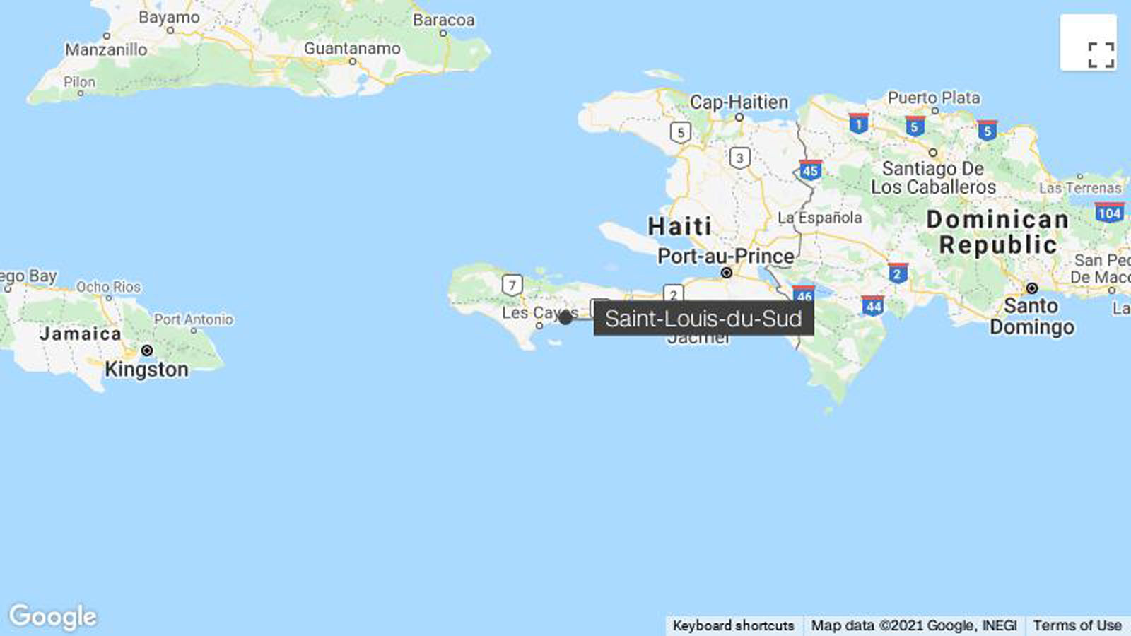 The earthquake was about 12 kilometers (7.5 miles) northeast of Saint-Louis-du-Sud and 13 kilometers deep, according to the USGS.