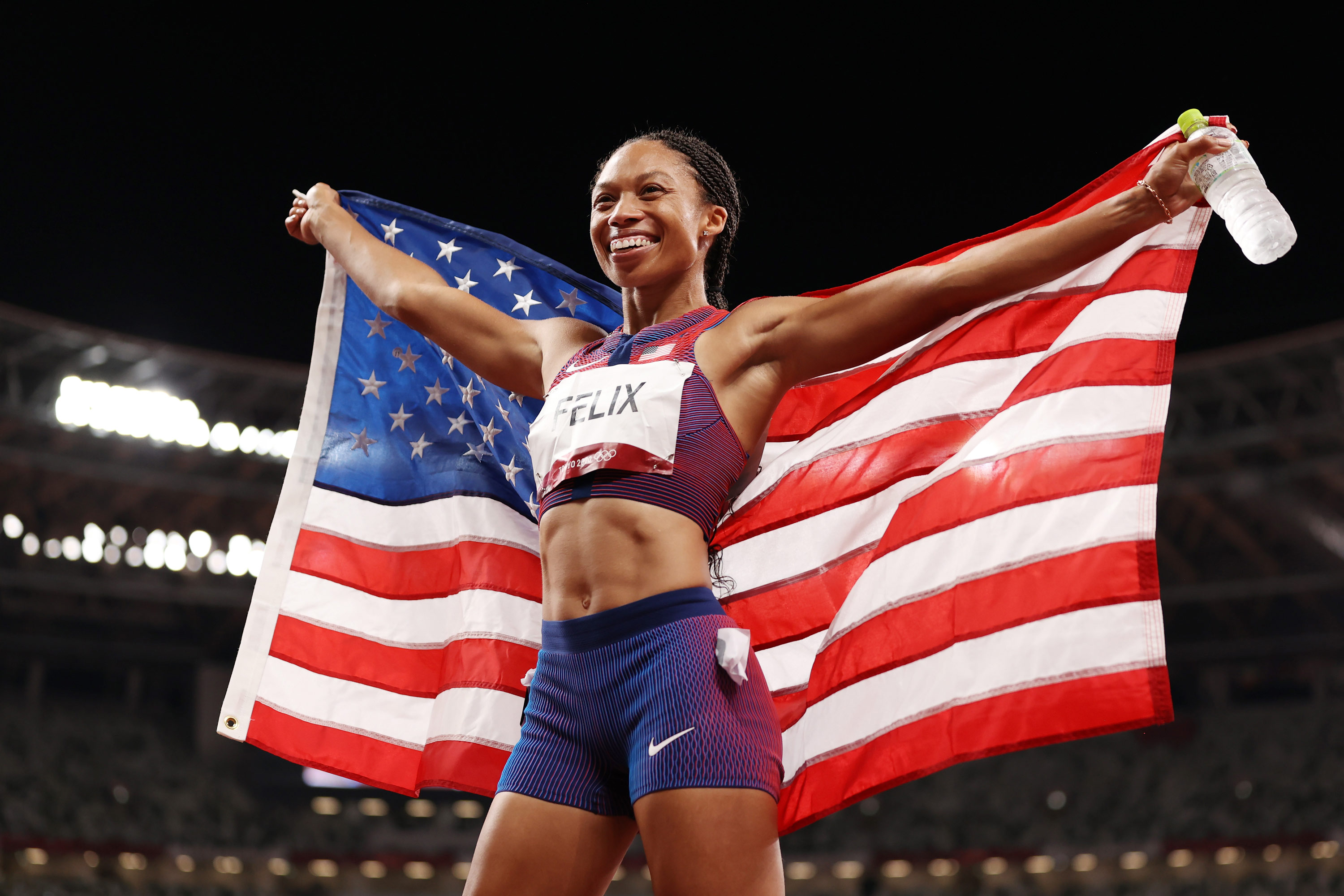 USA's Allyson Felix reacts after winning the bronze medal in the 400m on August 6.