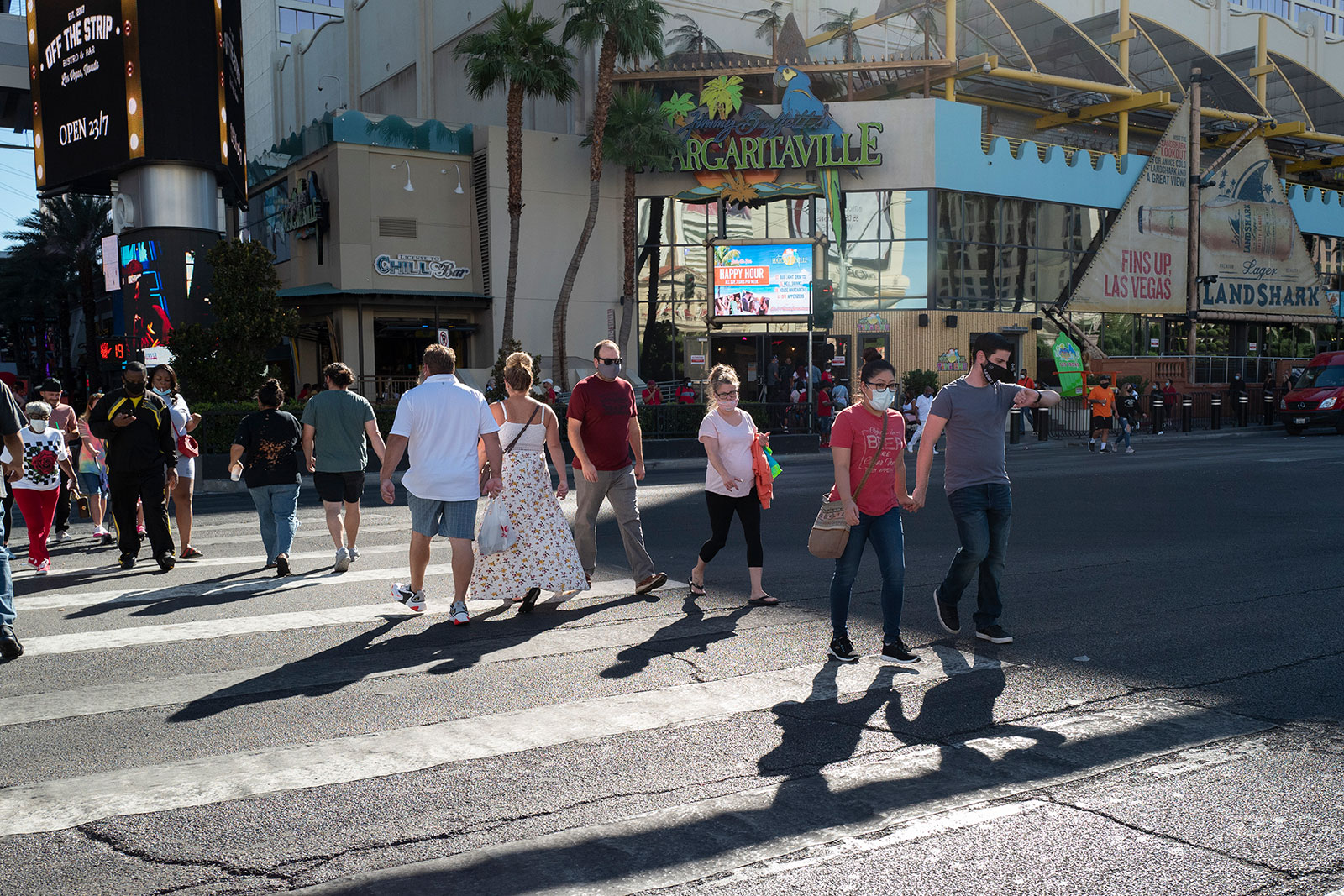People wear masks while walking in Las Vegas, Nevada, in October.