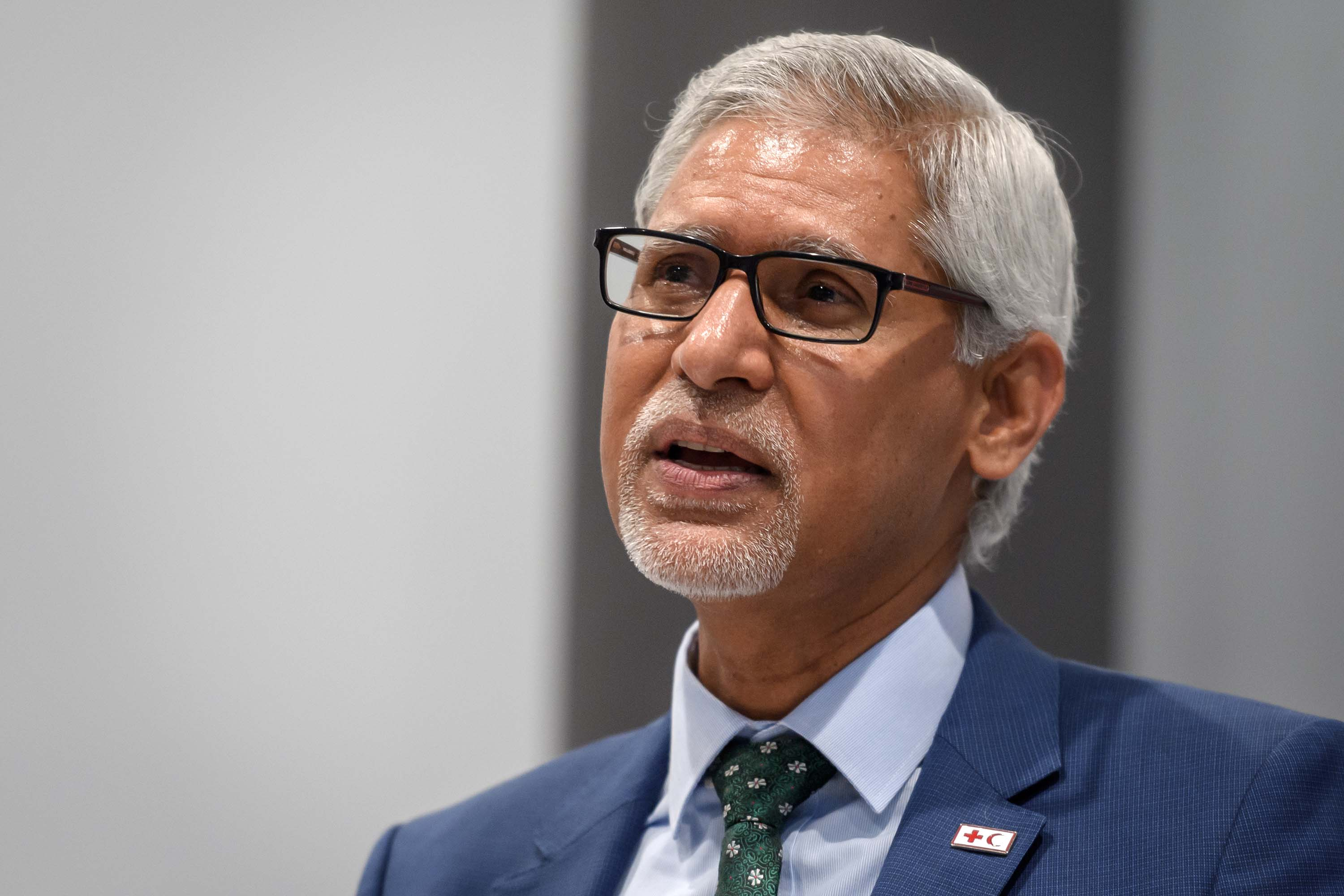 International Federation of Red Cross and Red Crescent Societies Secretary-General Jagan Chapagain is pictured in Geneva, Switzerland, on July 22.