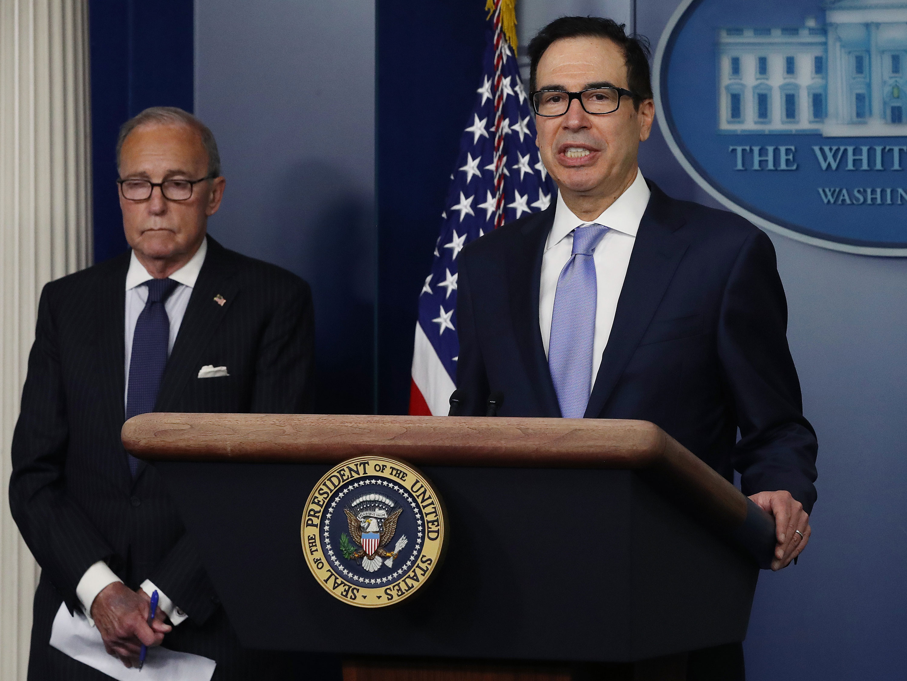 U.S. Treasury Secretary Steven Mnuchinspeaks to the media in the briefing room at the White House on July 2 in Washington, DC.