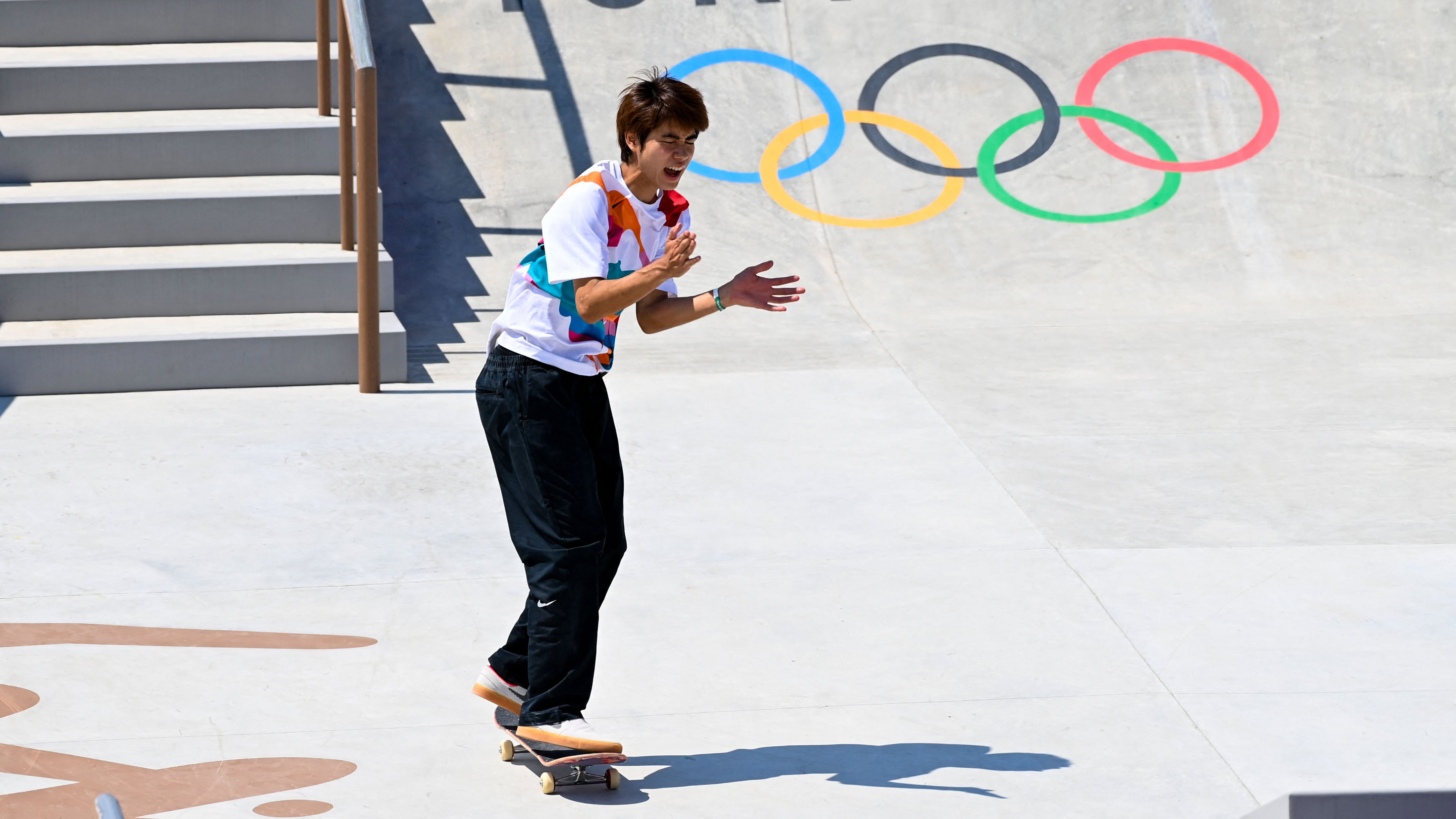 Japan's Yuto Horigome reacts as he competes in the street final on July 25.