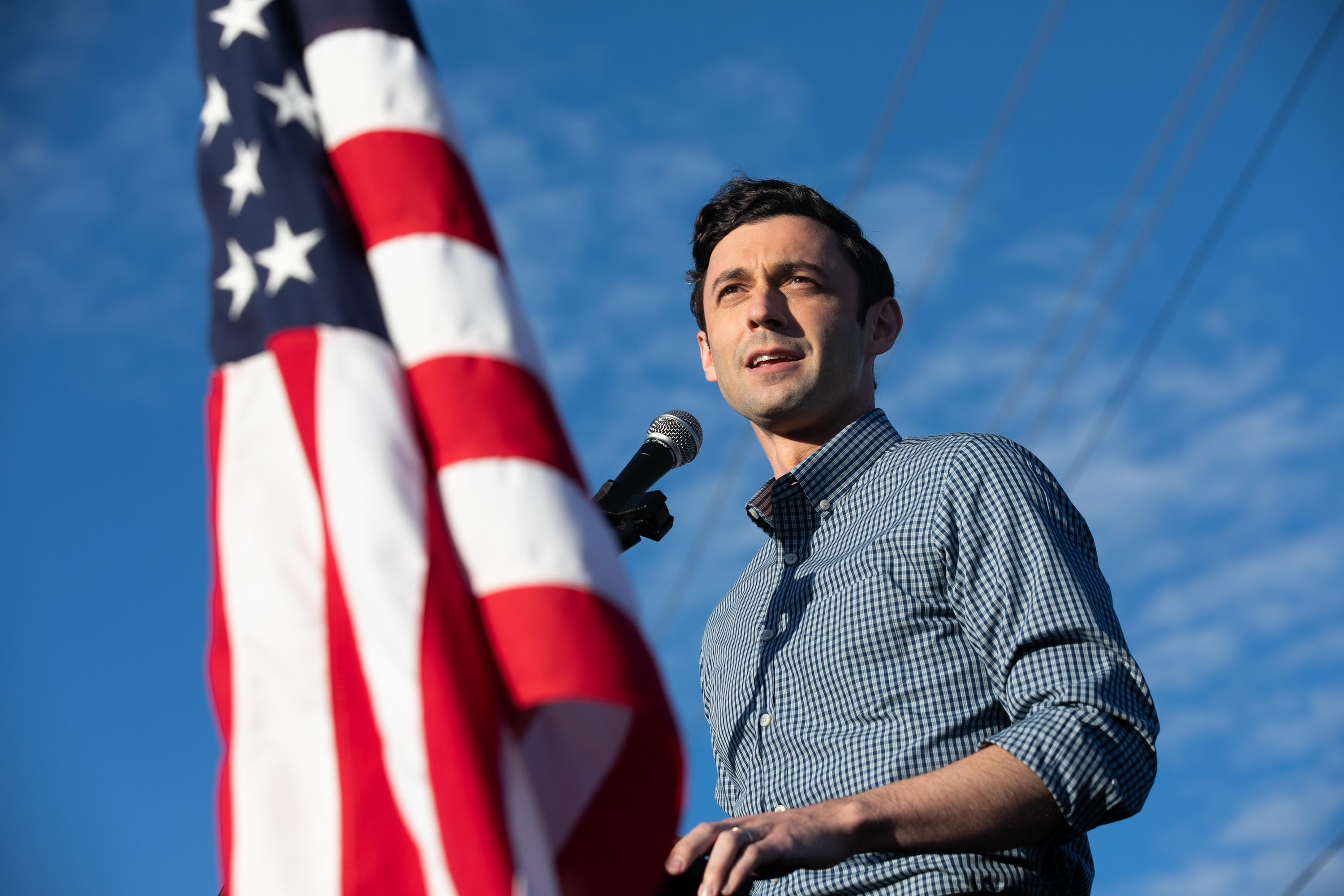 Democratic U.S. Senate candidate Jon Ossoff of Georgia speaks to supporters during a rally on November 15, 2020 in Marietta, Georgia.