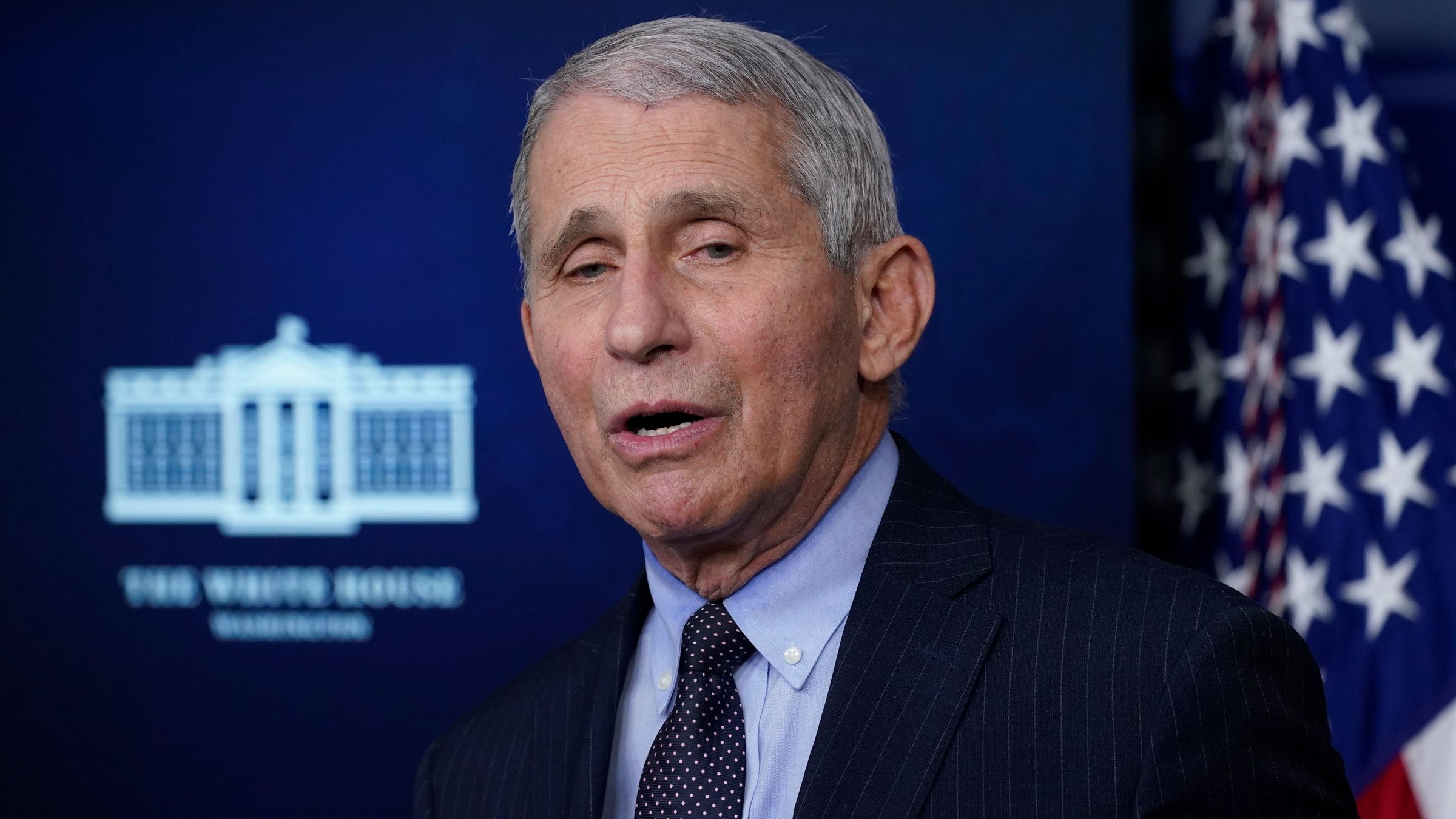 Dr. Anthony Fauci speaks with reporters last week in the White House Briefing Room.