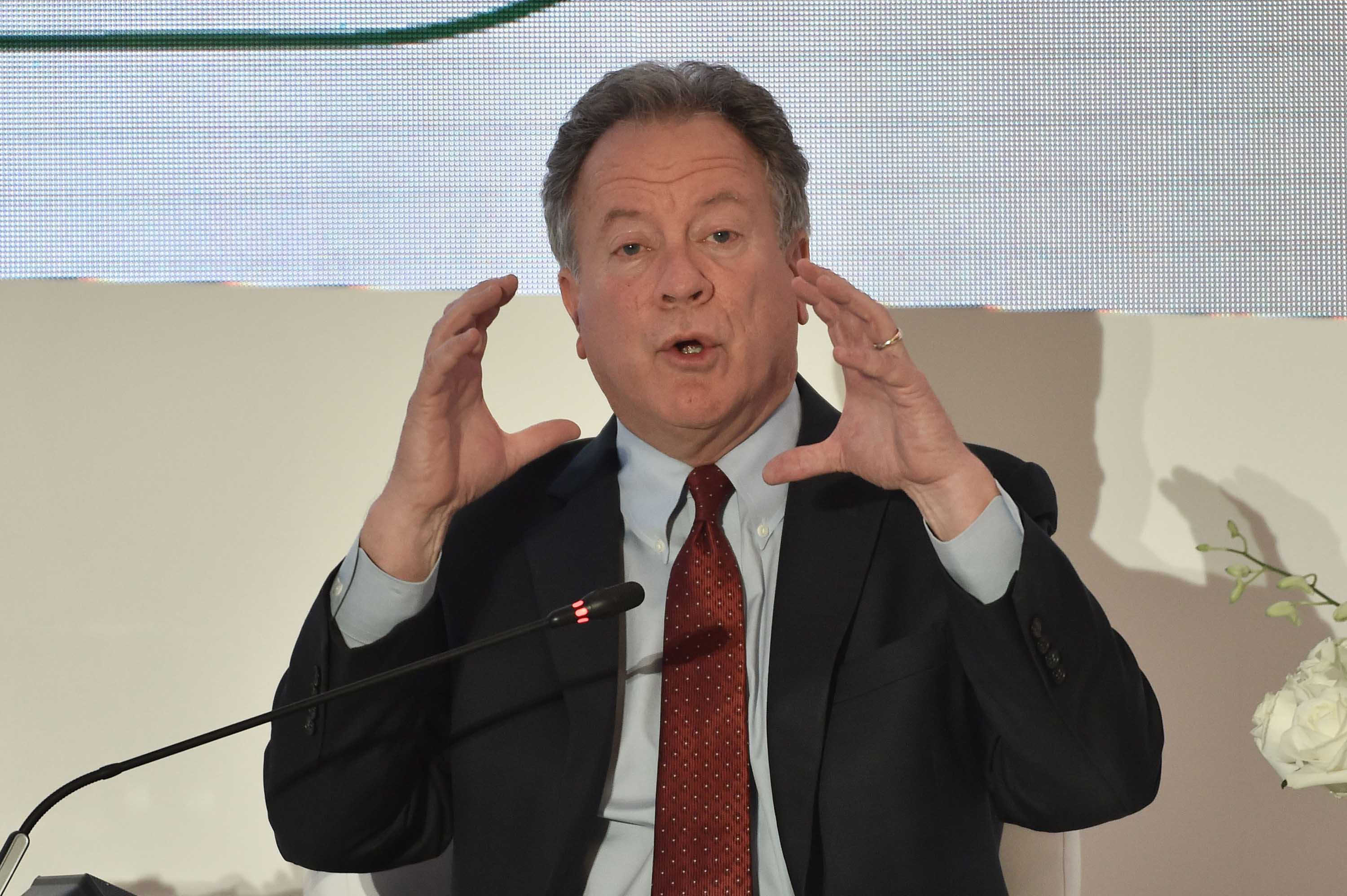 Executive Director of the World Food Programme David Beasley takes part in a panel discussion during the Riyadh International Humanitarian Forum in Saudi Arabia on March 1.