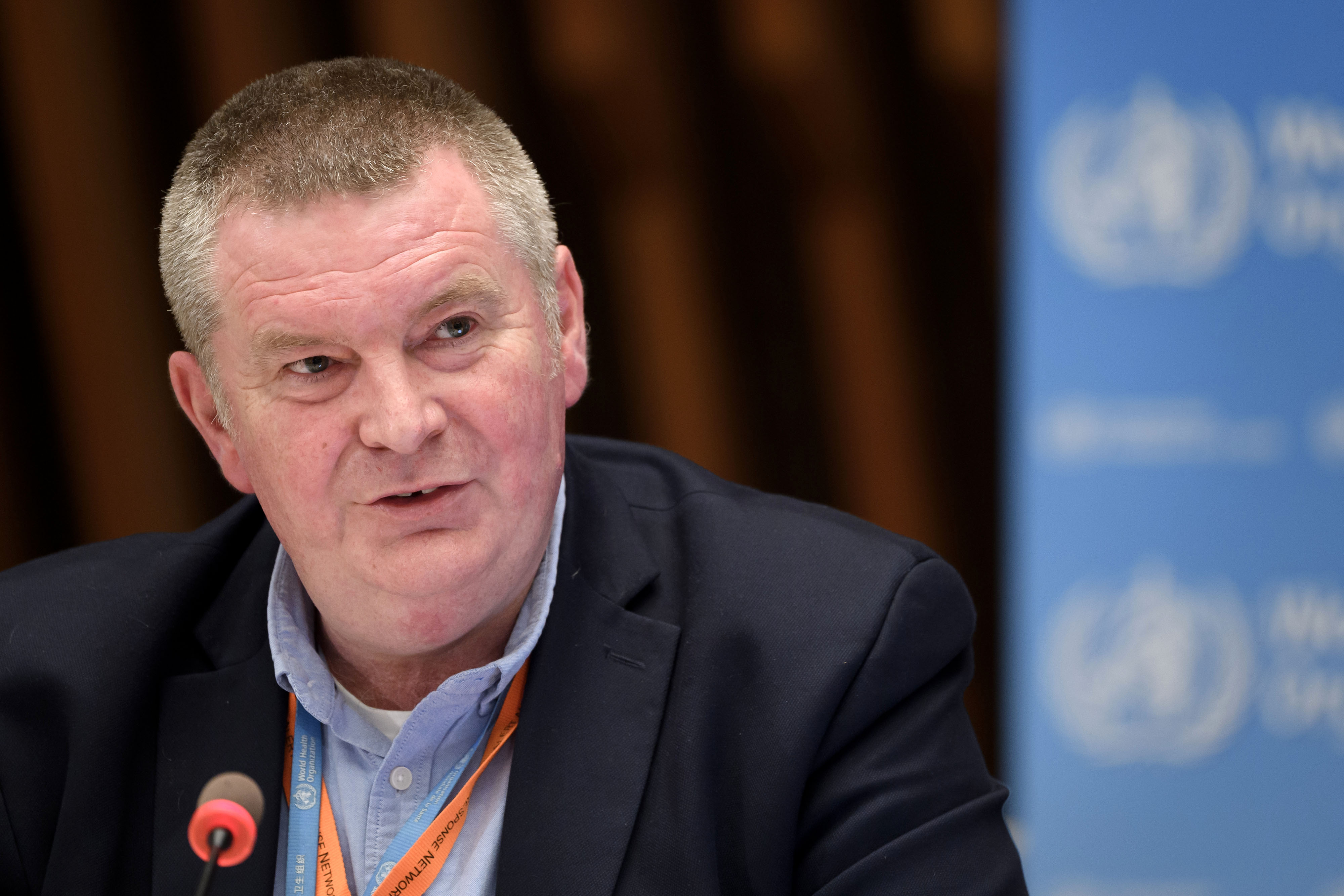 Dr. Mike Ryan,executive director of WHO's Health Emergencies Programme, attends a press conference in Geneva, Switzerland, on July 3.