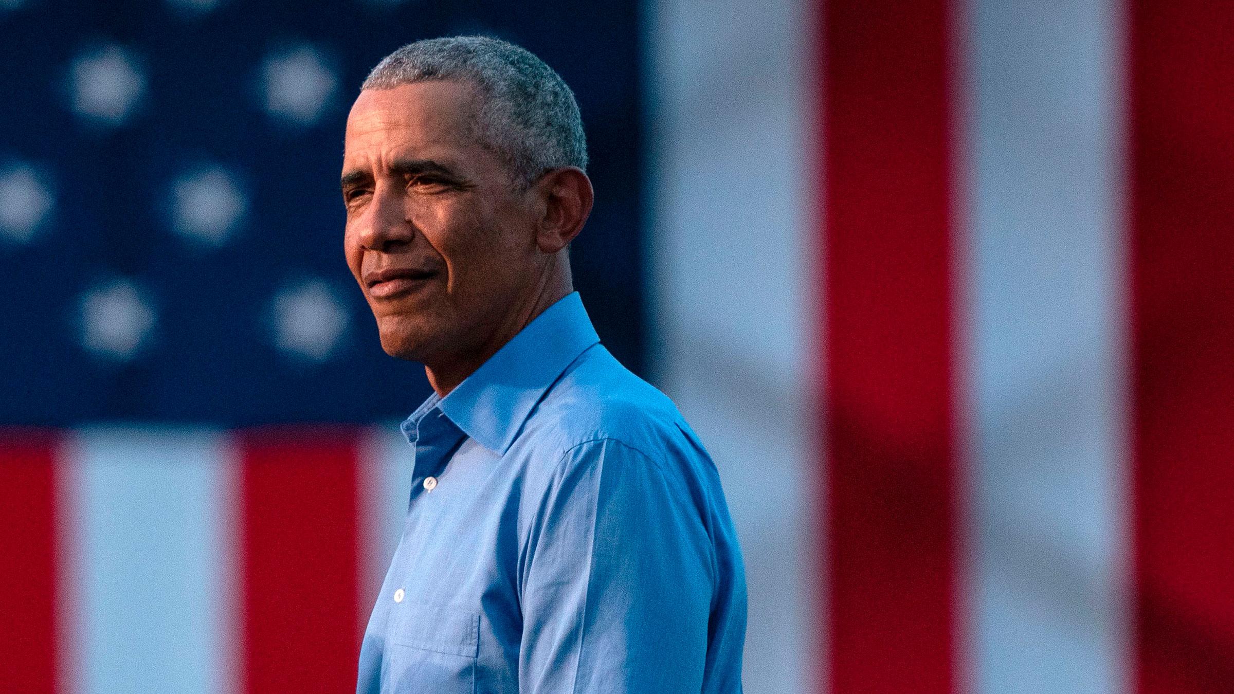Former President Barack Obama spoke during a rally in Philadelphia, Pennsylvania, on October 21.