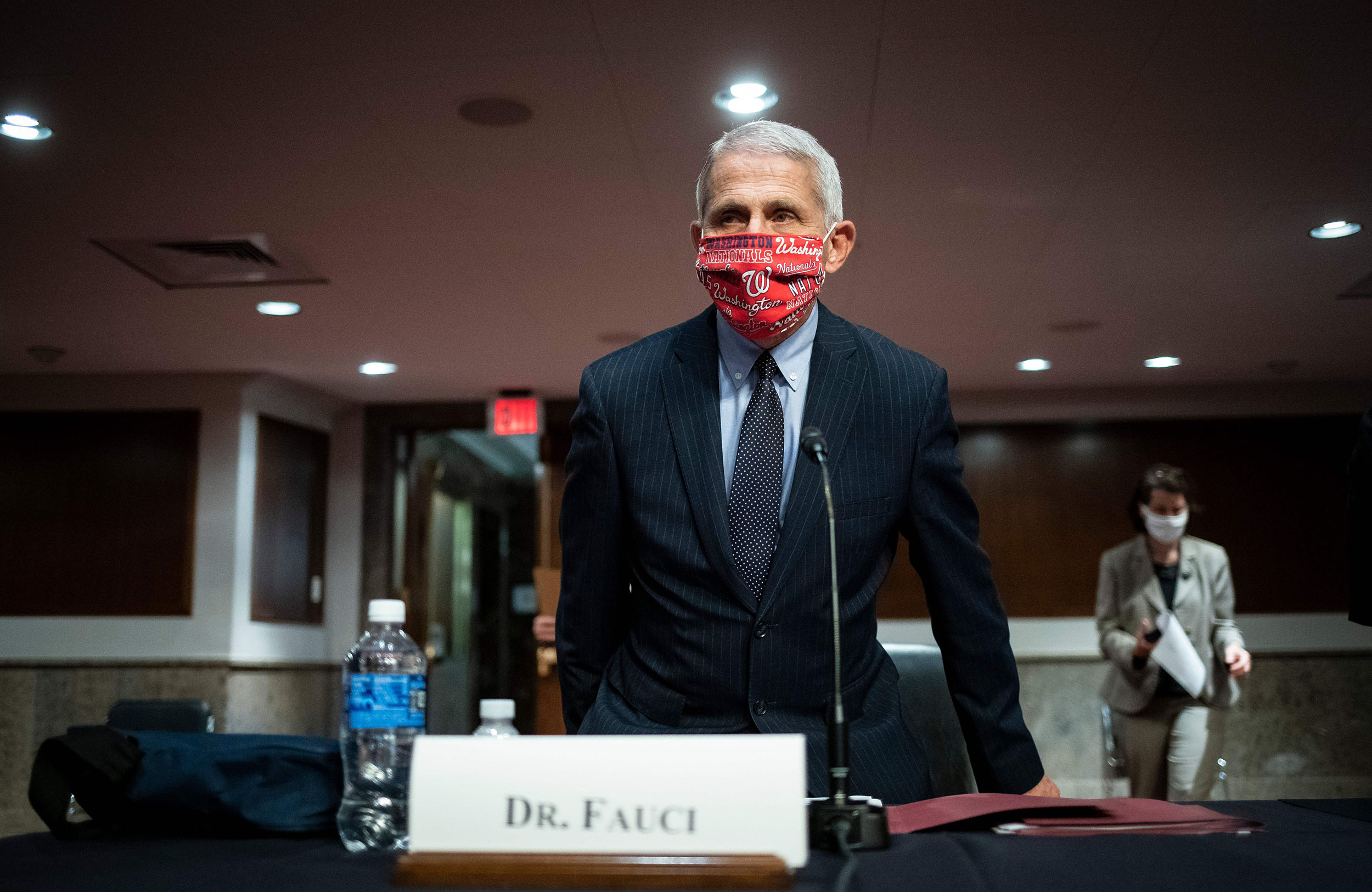 Anthony Fauci, director of the National Institute of Allergy and Infectious Diseases, looks on during a Senate Health, Education, Labor and Pensions Committee hearing on June 30, in Washington, DC.