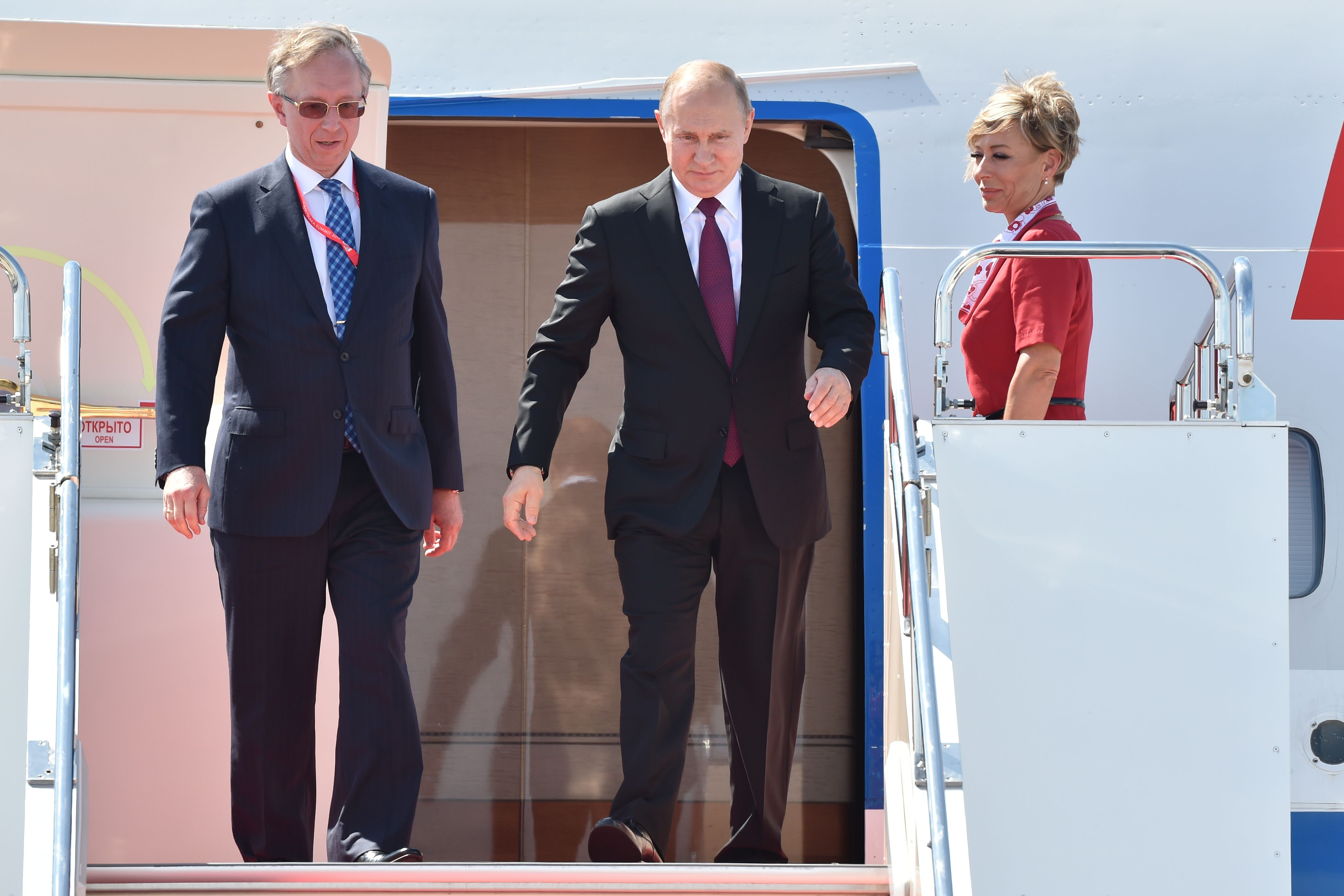 Russia's President Vladimir Putin arrives at Kansai International Airport prior to the G20 Osaka Summit in Osaka Prefecture on June 28.
