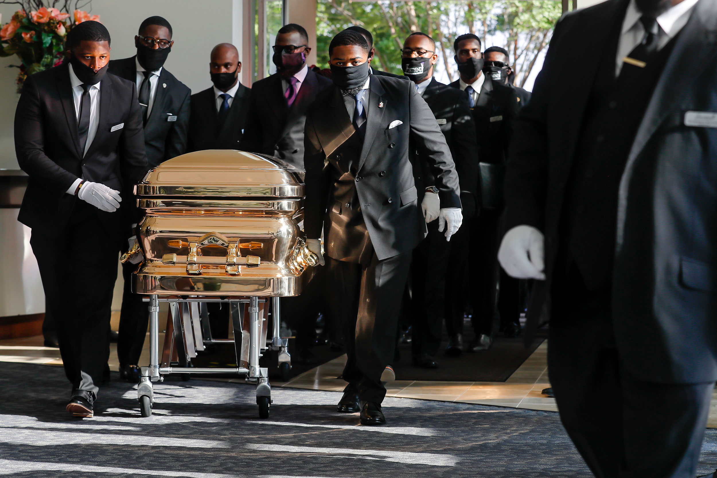 Pallbearers bring the coffin into The Fountain of Praise church in Houston for the funeral for George Floyd on Tuesda June 9, 2020. Floyd died after being restrained by Minneapolis Police officers on May 25.