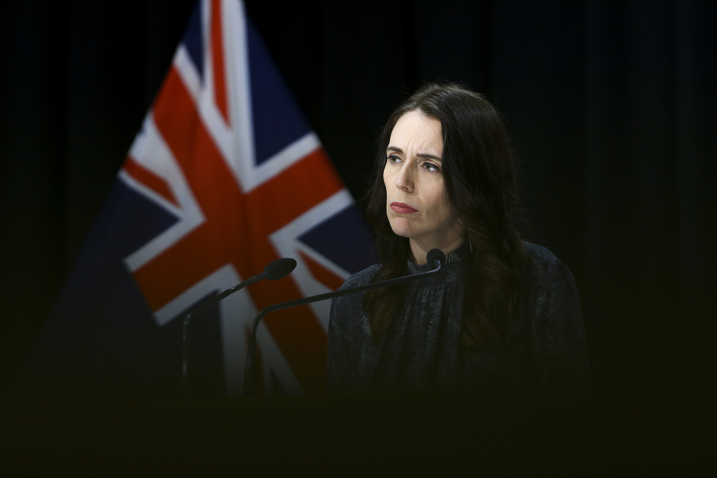 Prime Minister Jacinda Ardern looks on during a news conference at Parliament on August 21, in Wellington, New Zealand.