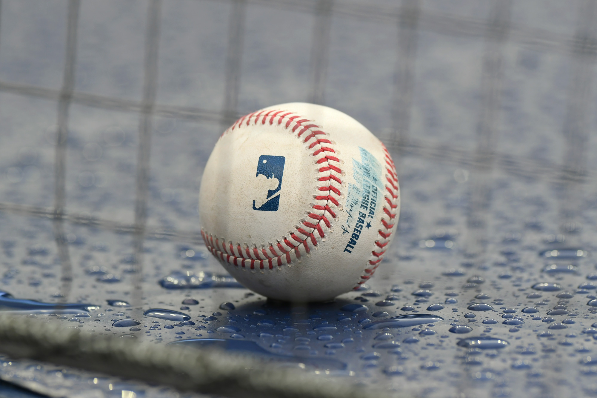 An official Major League baseball sits on top of a dugout at Comerica Park on August 2 in Detroit.