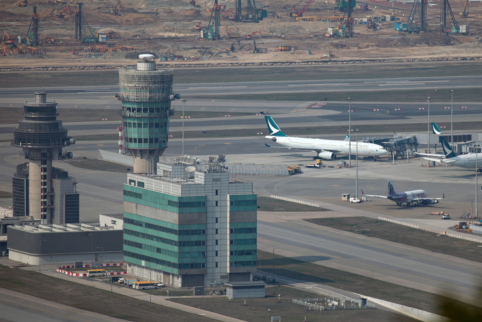 Aircraft operated by Cathay Pacific Airways Ltd. is seen at the Hong Kong International Airport in Hong Kong, China, on March 9.