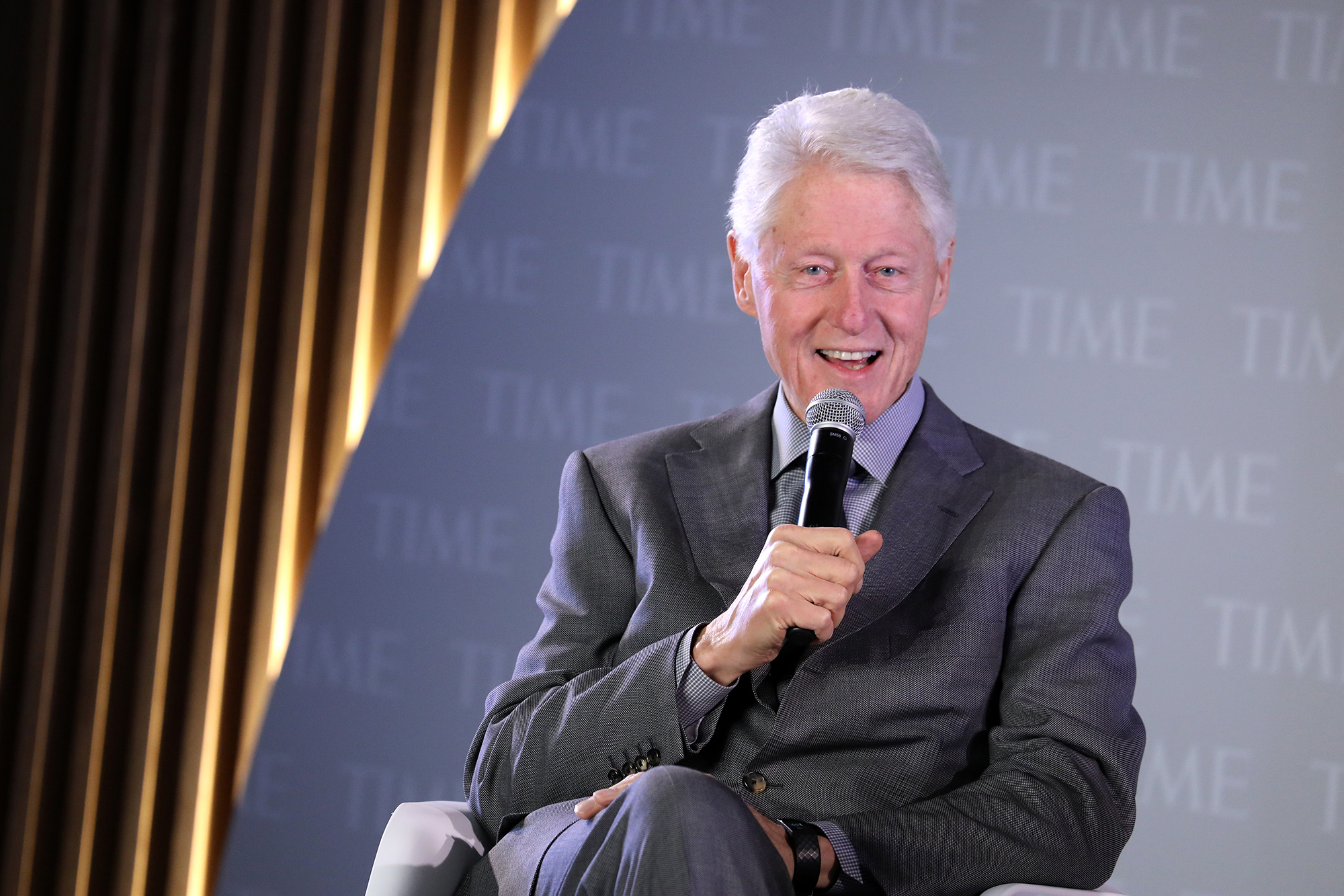Former U.S. President Bill Clinton speaks onstage during the TIME 100 Health Summit at Pier 17 on October 17, 2019 in New York.