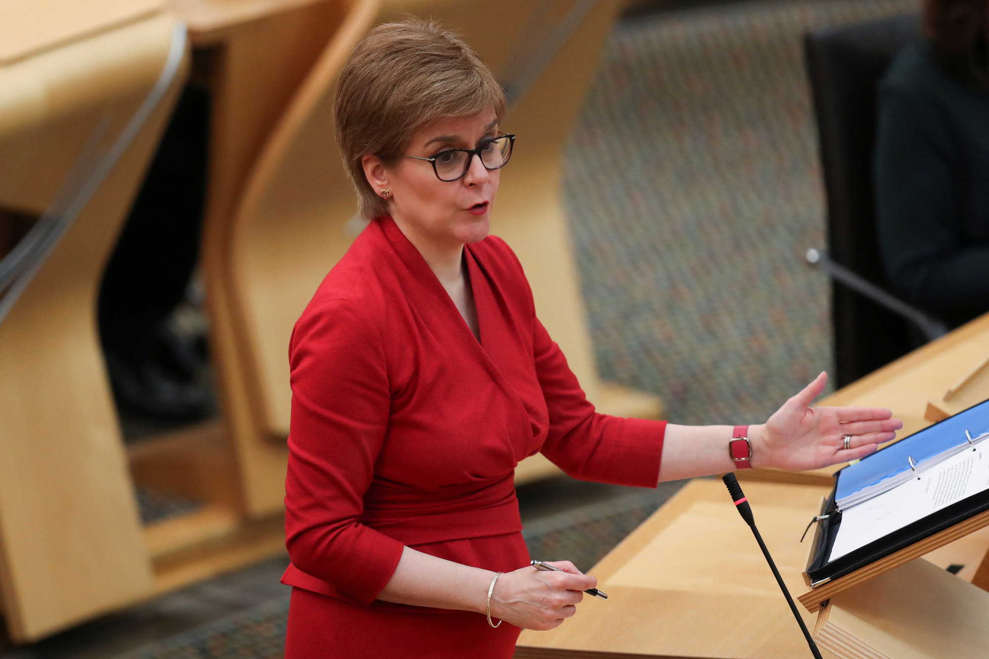 Scottish First Minister Nicola Sturgeon makes a statement on the coronavirus restrictions at the Scottish Parliament on February 23 in Edinburgh, Scotland.