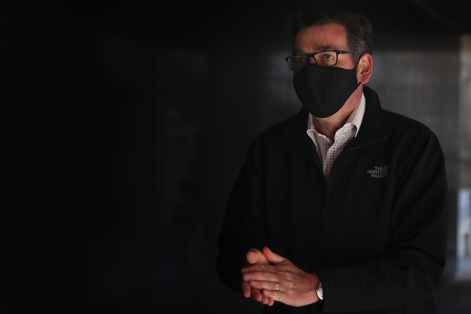 Victoria Premier Daniel Andrews leaves after speaking at a news conference on October 26, in Melbourne, Australia.