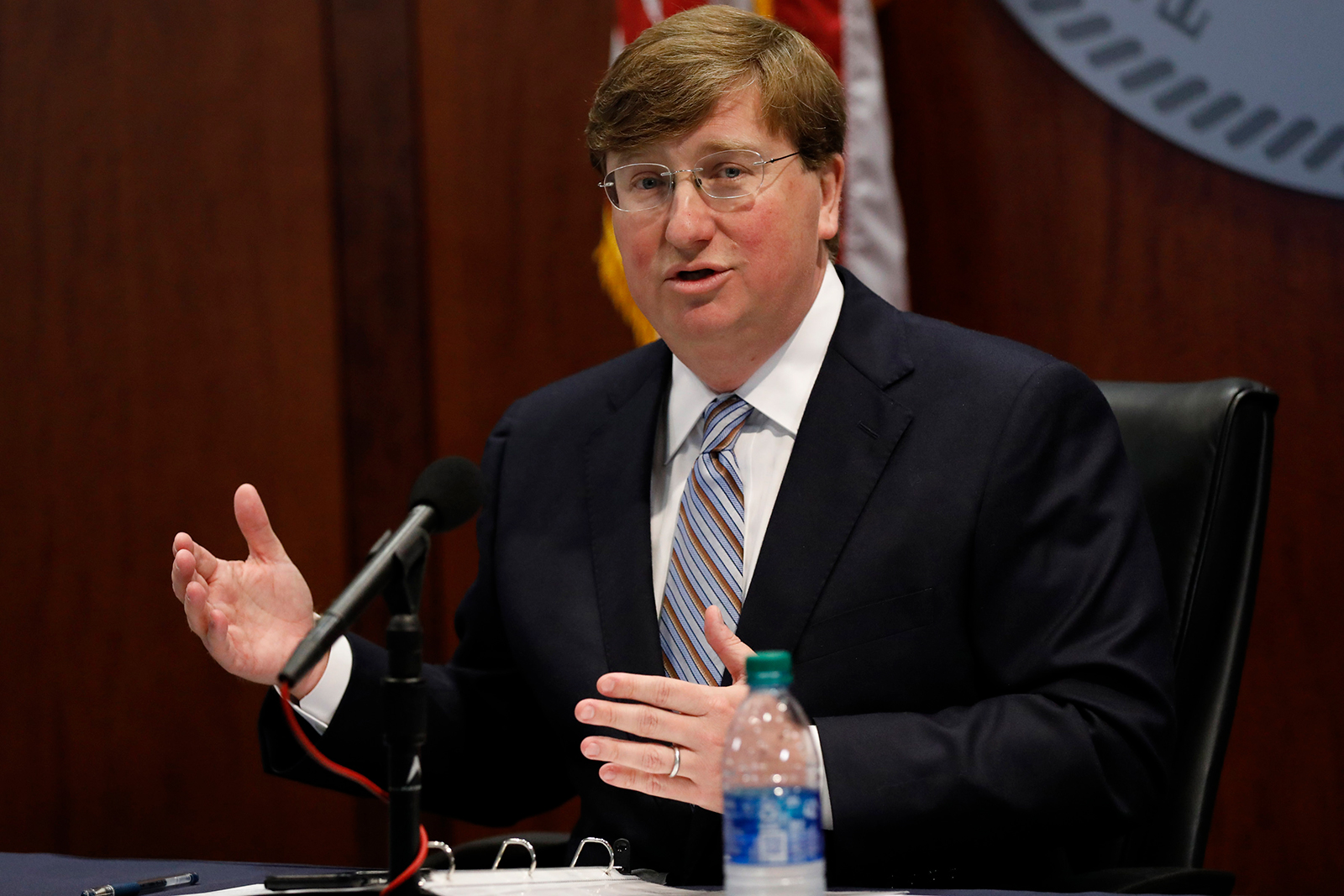 Mississippi Gov. Tate Reeves speaks about his executive order relaxing restrictions on nightclubs and bars during the daily Covid-19 news update in Jackson, Mississippi, on June 10.