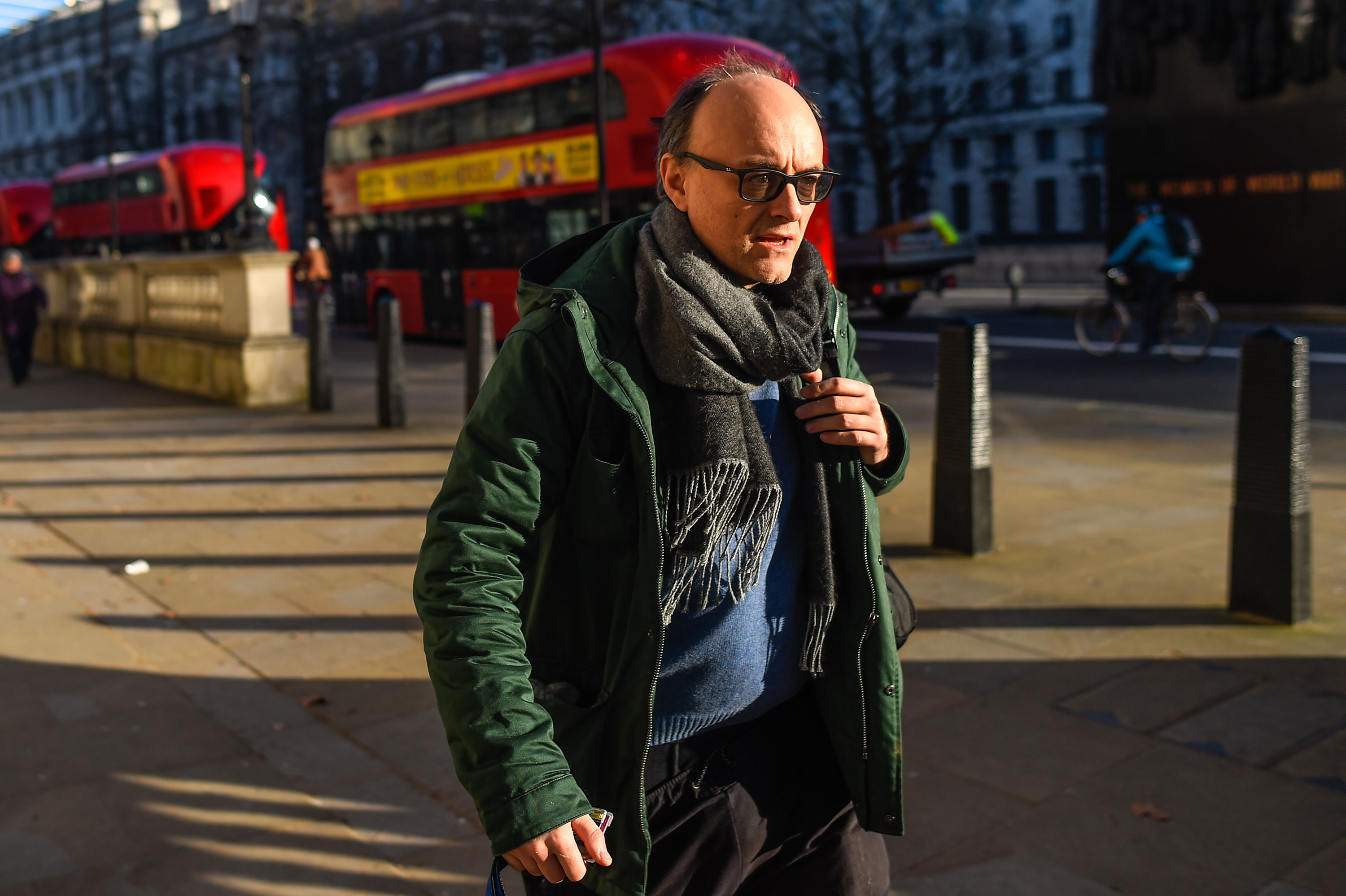 Dominic Cummings arrives at Downing Street on February 12 in London, England.