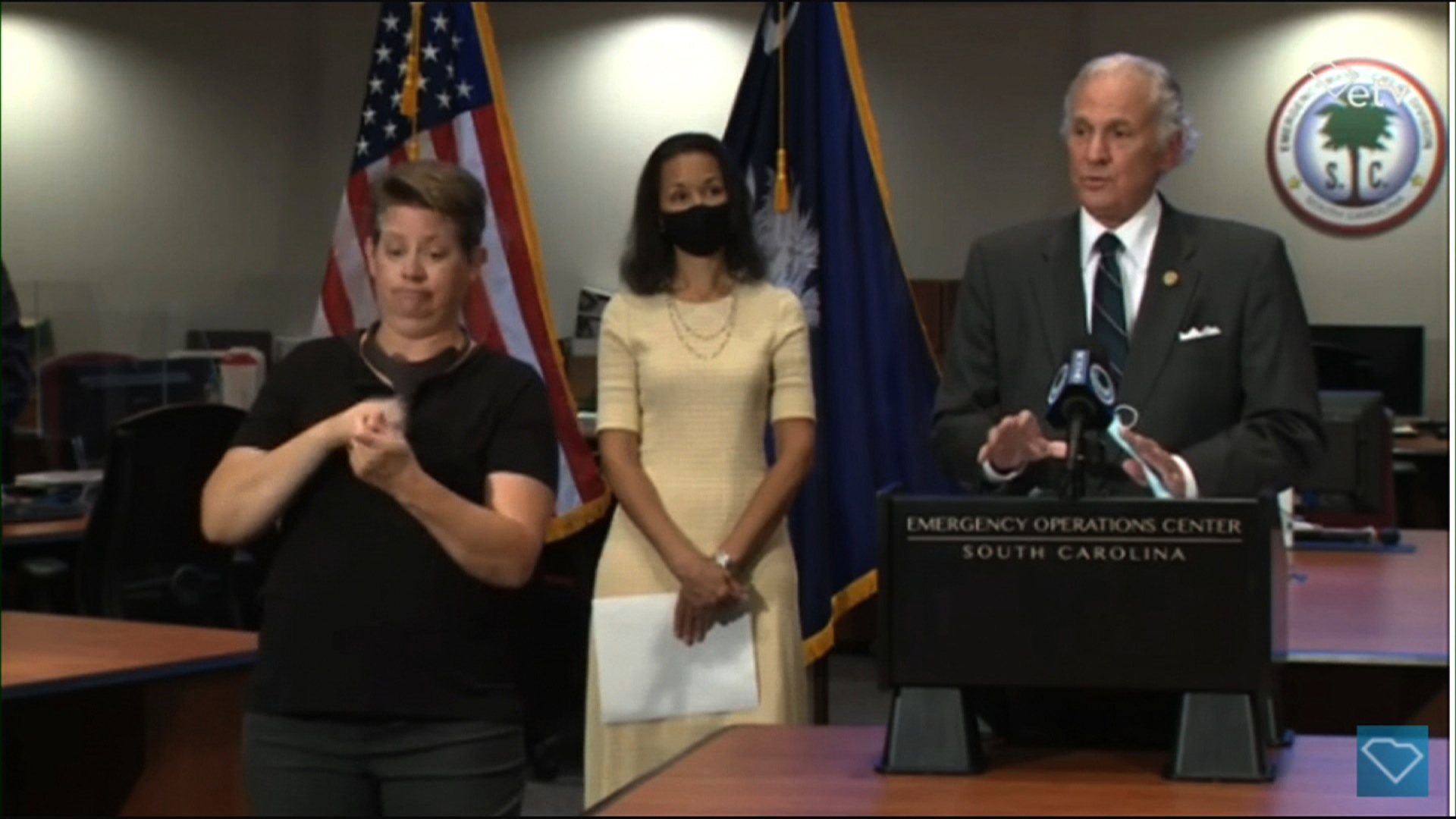 South Carolina Gov. Henry McMaster, right, speaks during a press conference in Columbia, South Carolina, on July 29.