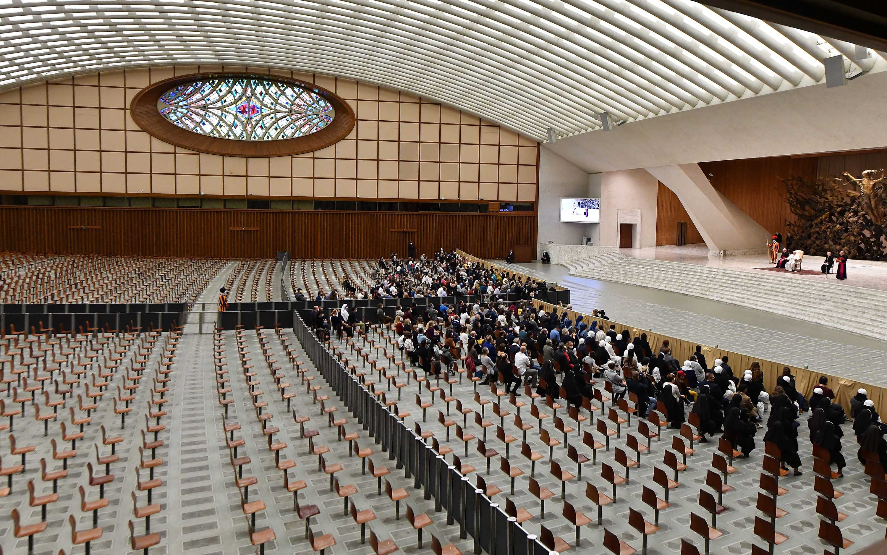 The Paul VI hall is pictured as Pope Francis speaks during his weekly general audience.
