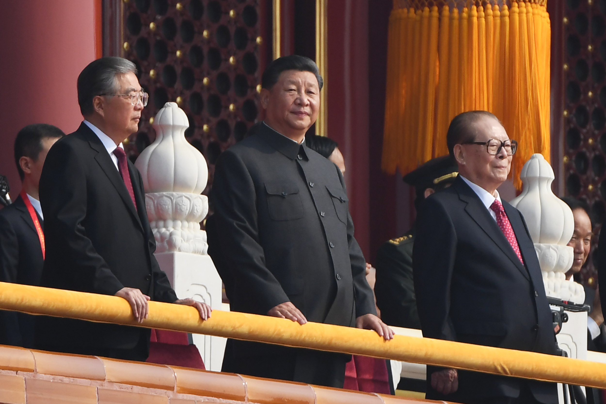 Chinese President Xi Jinping (center) in Tiananmen Square in Beijing on October 1, 2019.