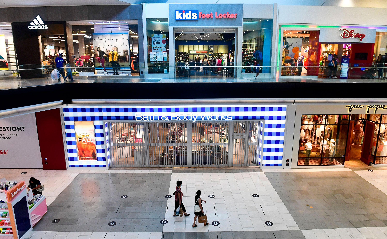 People shop at the Westfield Santa Anita mall on October 7 in Arcadia, California.