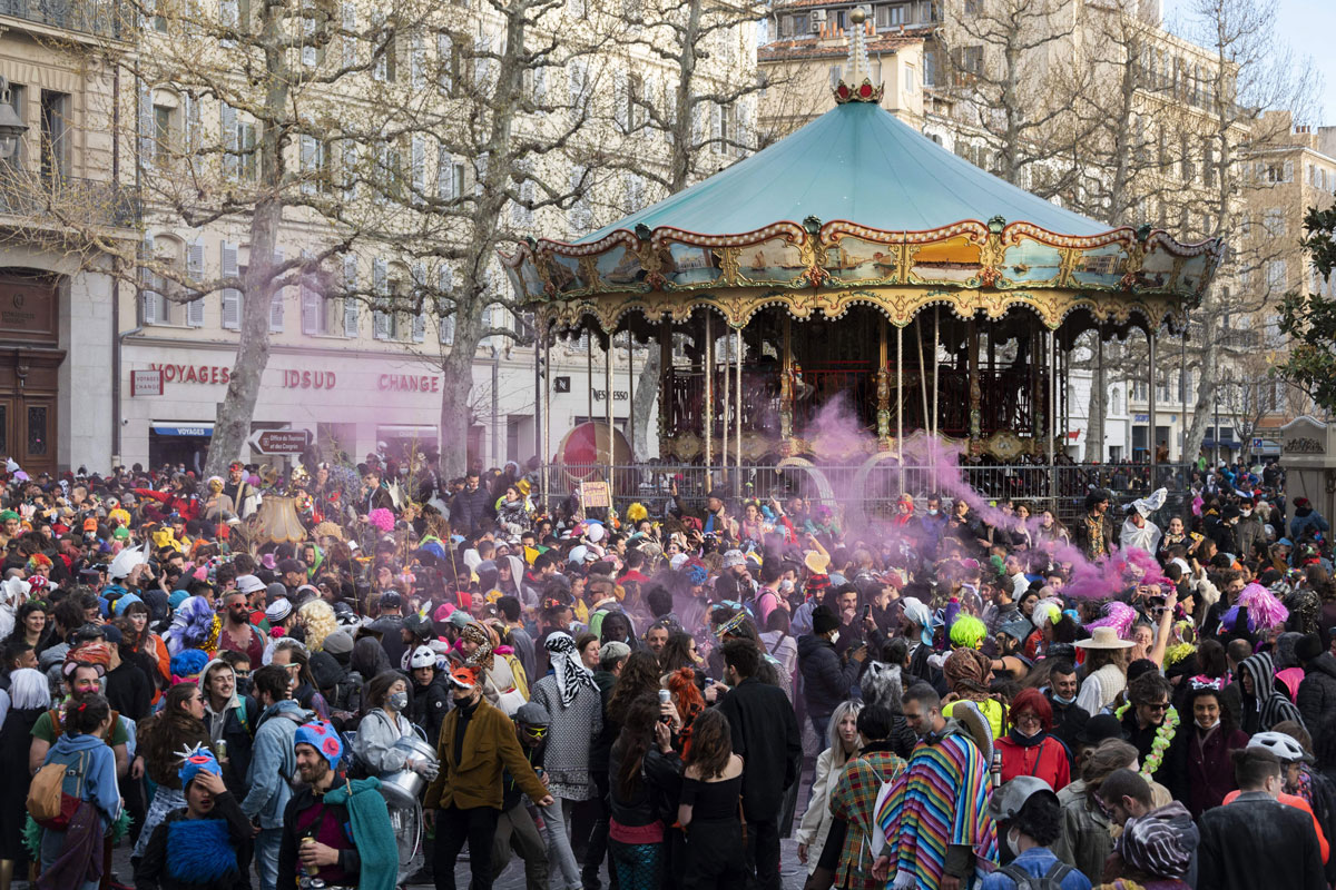 Thousands participated in an unauthorized street party in Marseille, southern France, on Sunday.