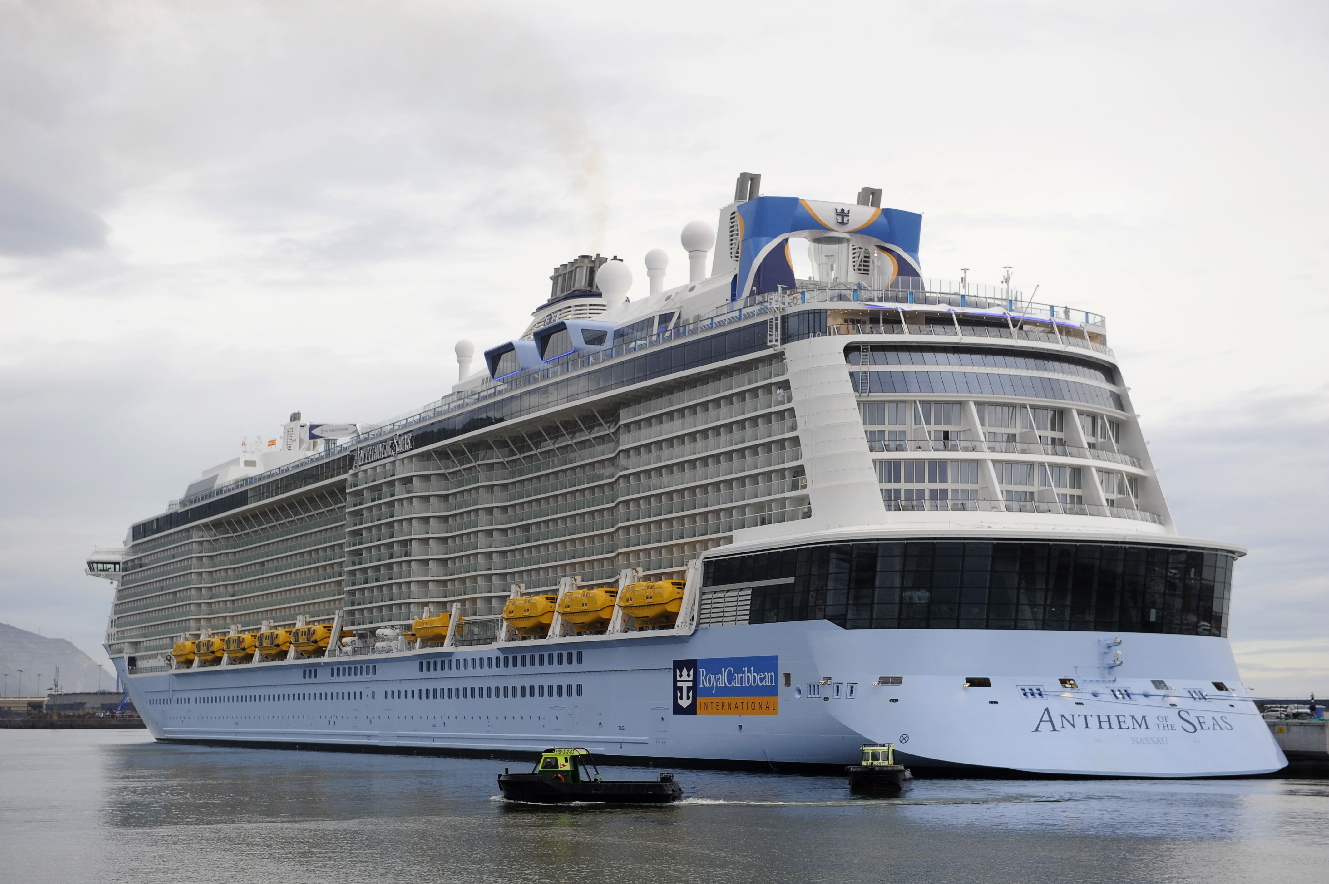 Anthem Of The Seas is seen moored at the port of Bilbao, Spain during its maiden voyage, on April 26, 2015. ANDER GILLENEA/AFP via Getty Images
