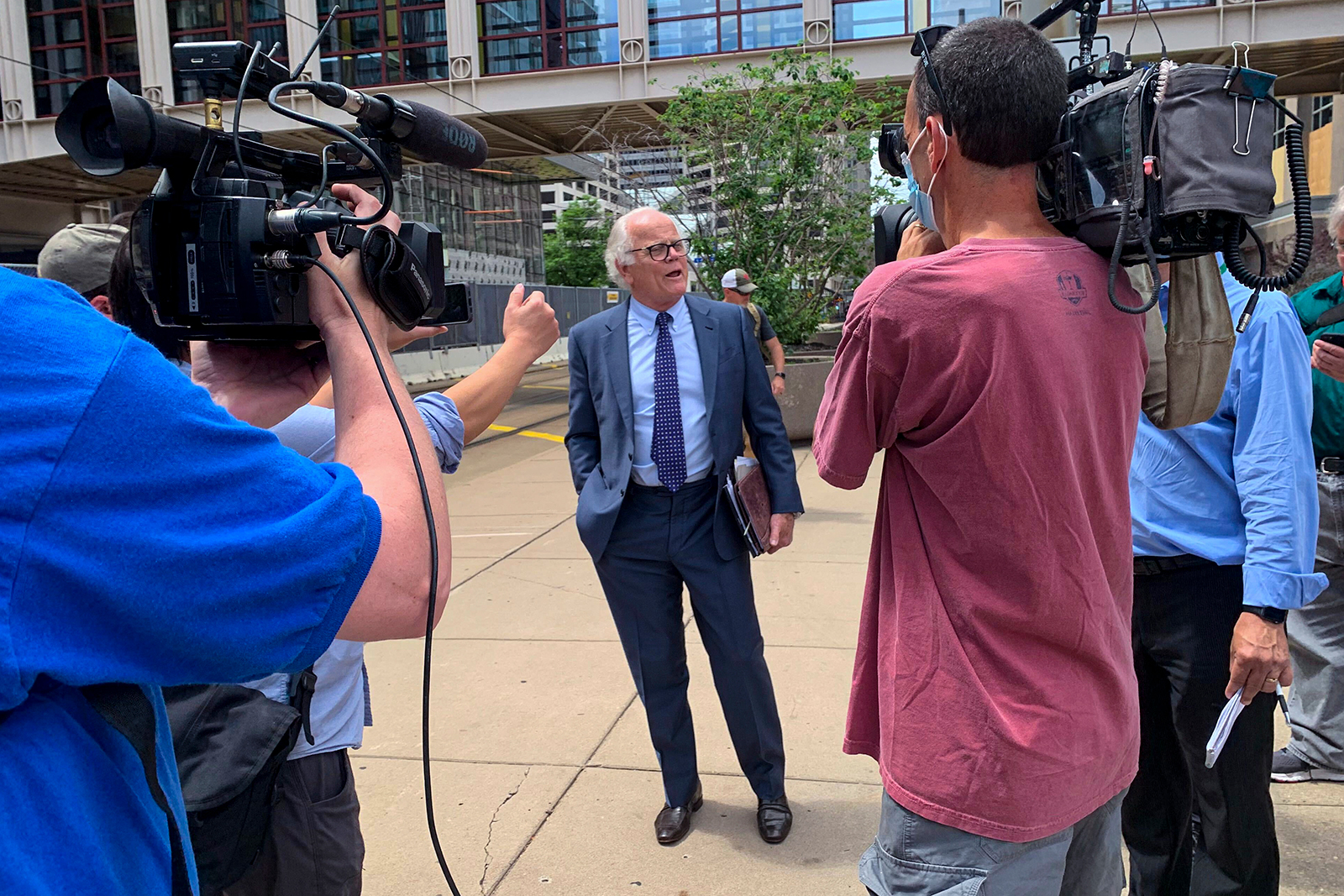 Earl Gray, defense attorney for former Minneapolis police officer Thomas Lane, talks to reporters on Thursday, June 4, outside court in downtown Minneapolis.