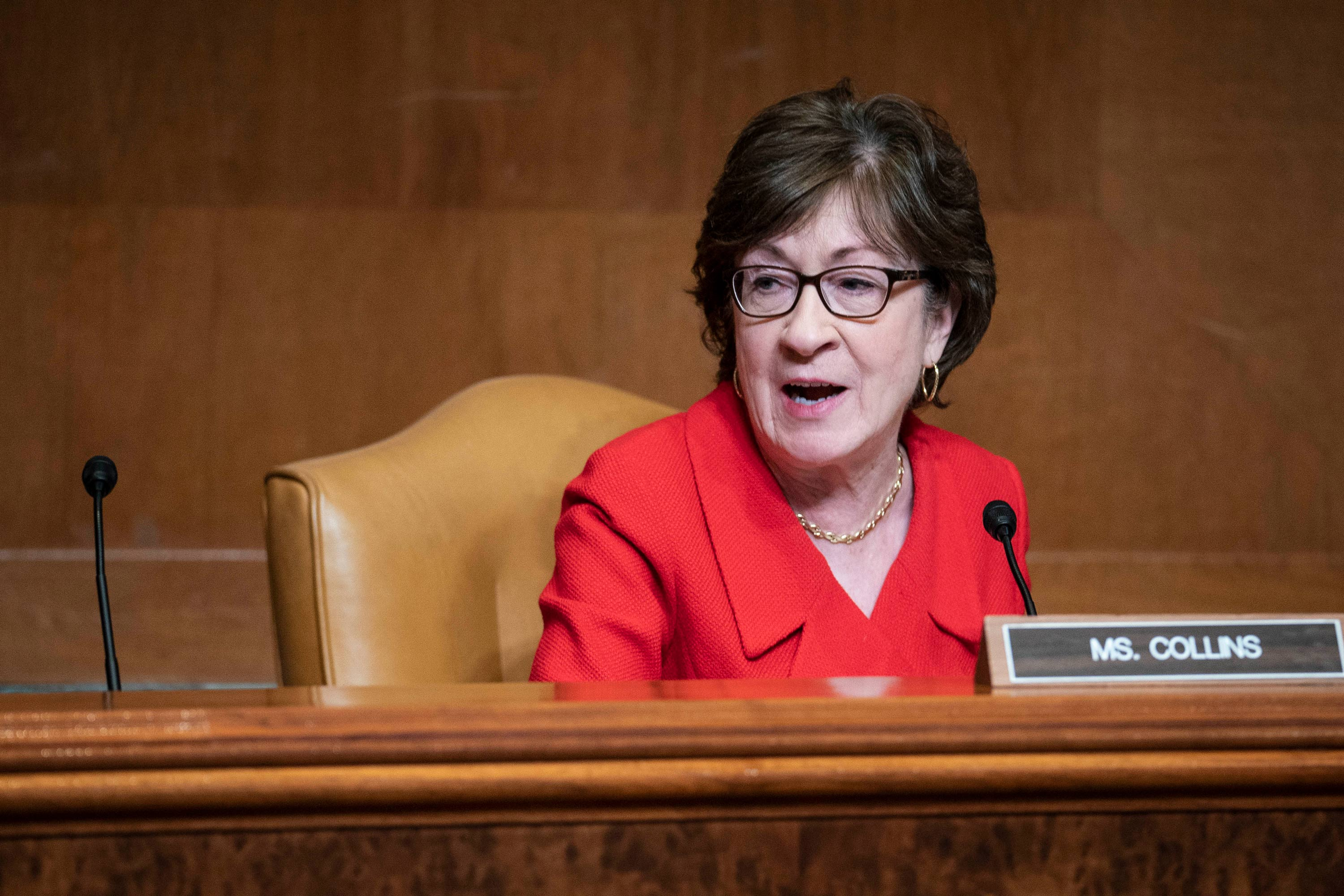 Senator Susan Collins speaks during a hearing on Capitol Hill on April 28 in Washington, DC.