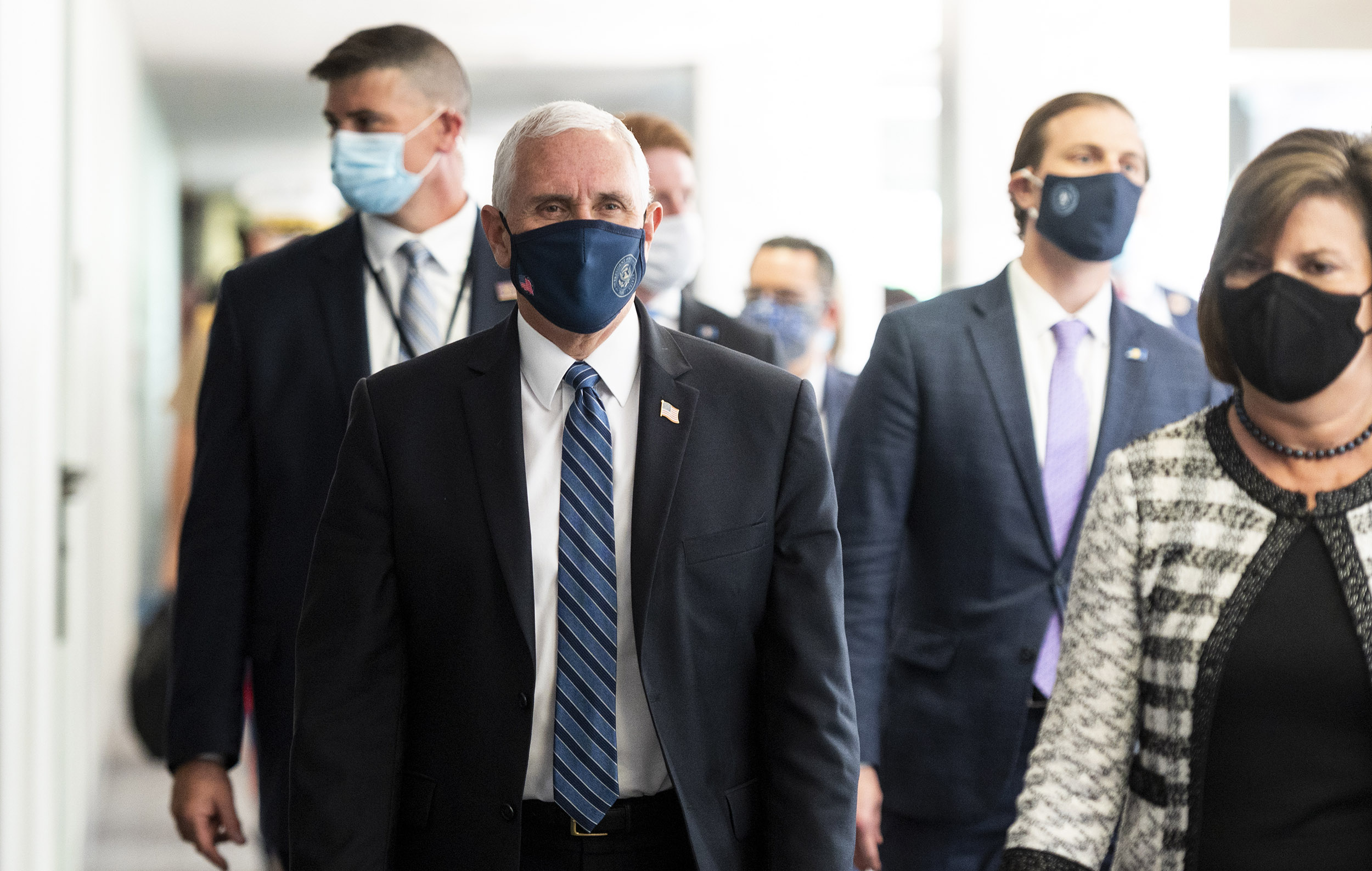 Vice President Mike Pence arrives for the Senate Republicans' lunch in the Hart Senate Office Building on Wednesday, June 24, in Washington, DC.