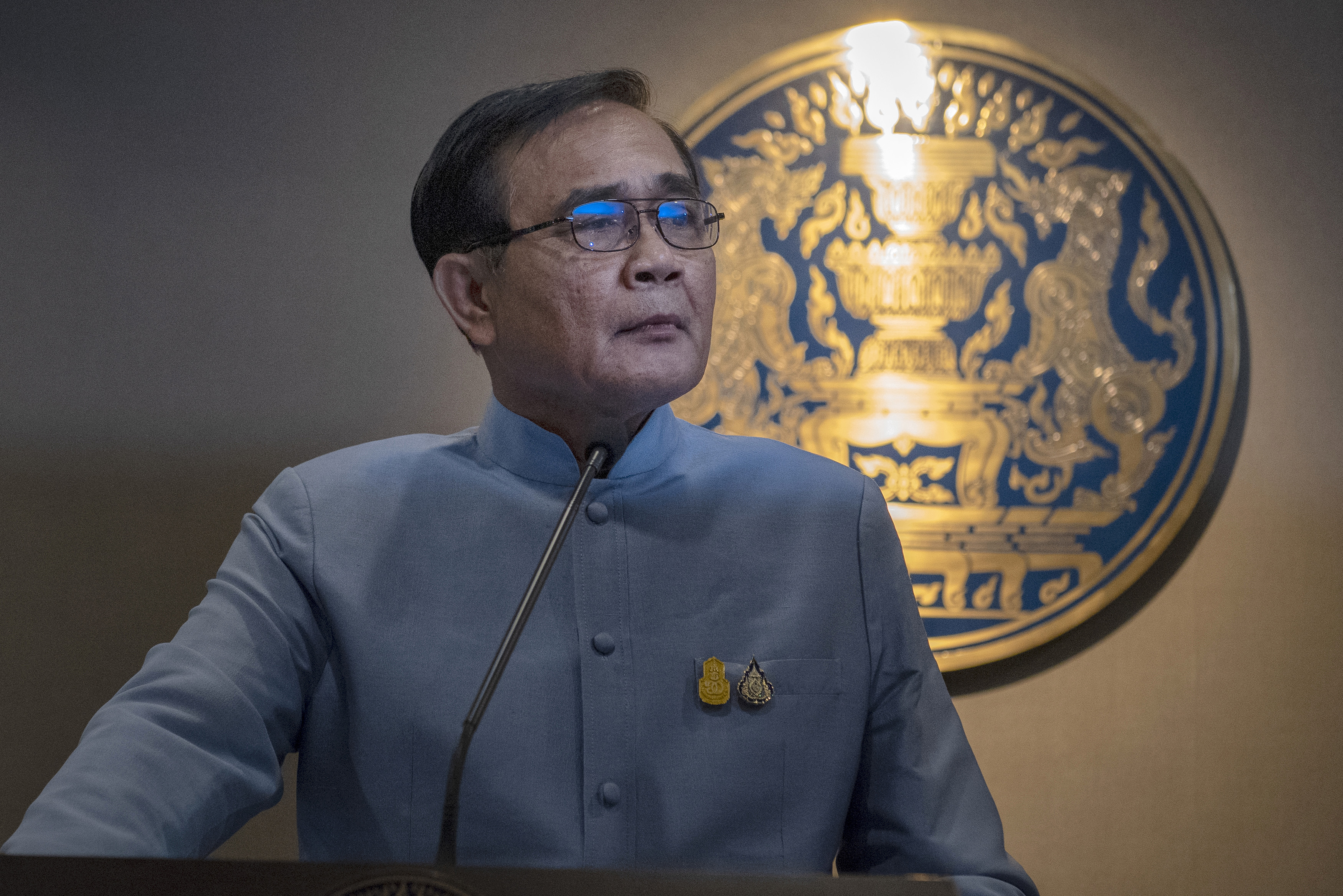 Thailand's Prime Minister, Prayut Chan-o-cha, speaks to members of the press in Bangkok, Thailand, on March 26, 2019.