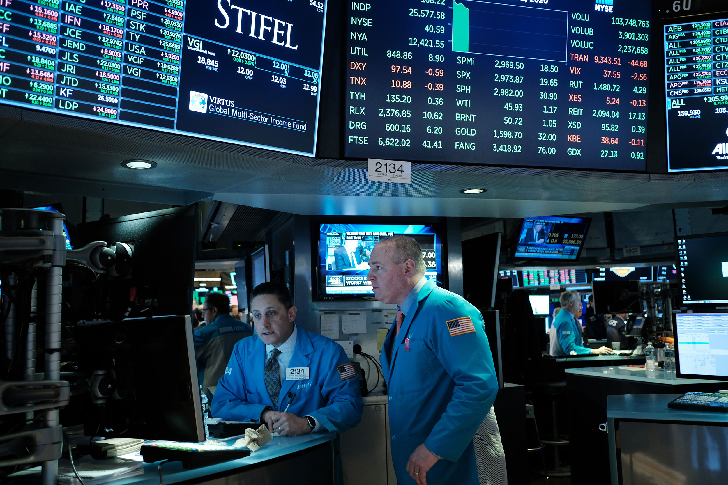 Traders work at the New York Stock Exchange on Monday, March 2.