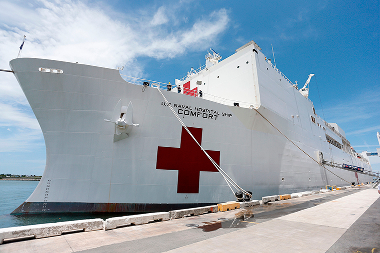 The US Naval Hospital Ship Comfort sits docked at the Port of Miami in Miami, Florida on June 18, 2019.