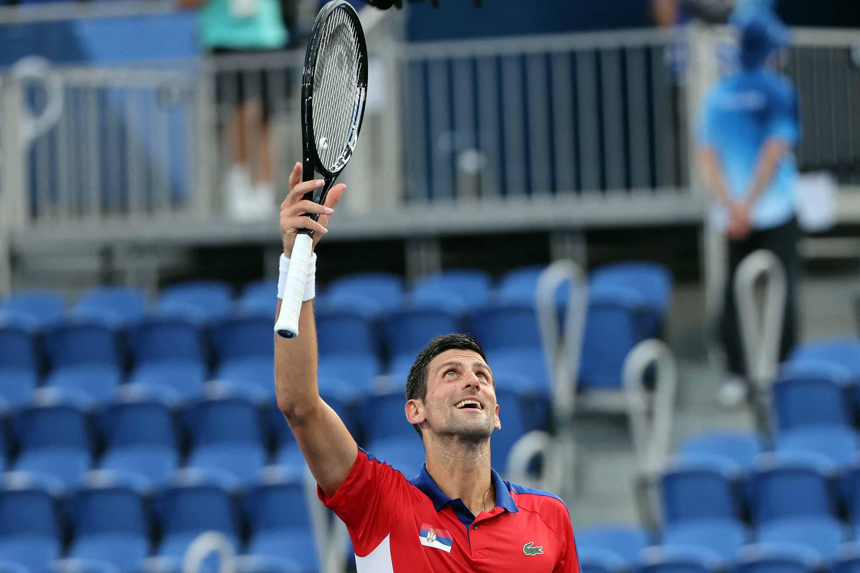 Serbia's Novak Djokovic celebrates beating Spain's Alejandro Davidovich Fokina during the men's singles third round tennis match on Wednesday.