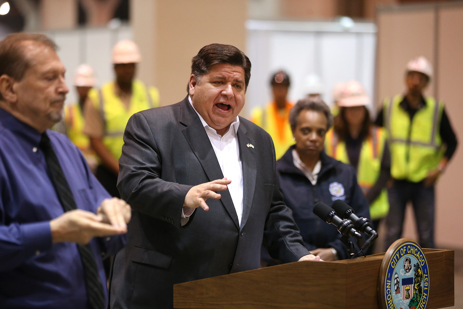 Illinois Gov. J.B. Pritzker speaks during a press conference on April 3, in Chicago.