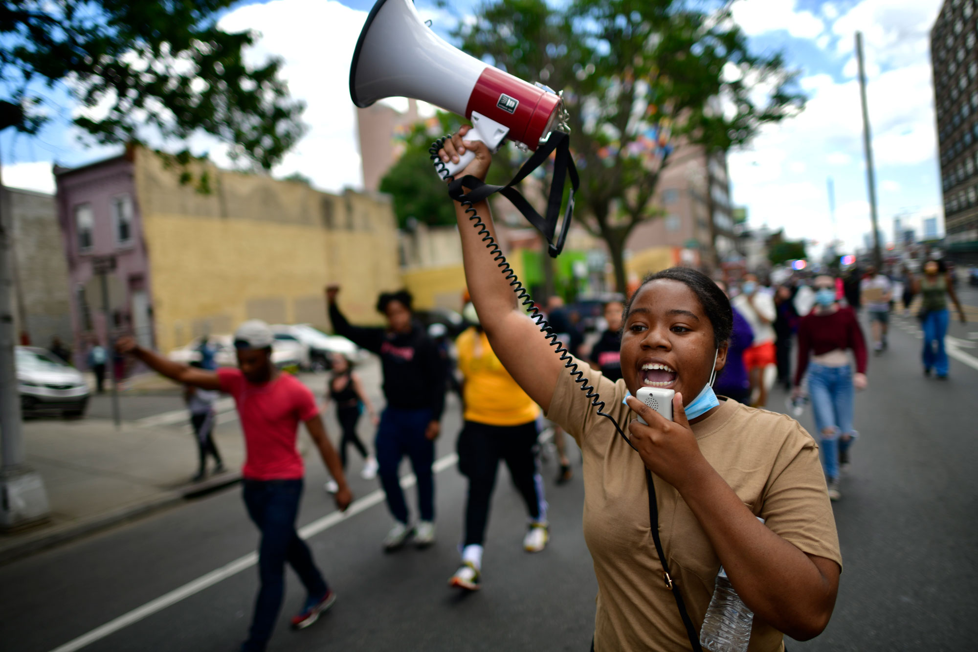 Protesters march in Philadelphia on Monday, June 1.