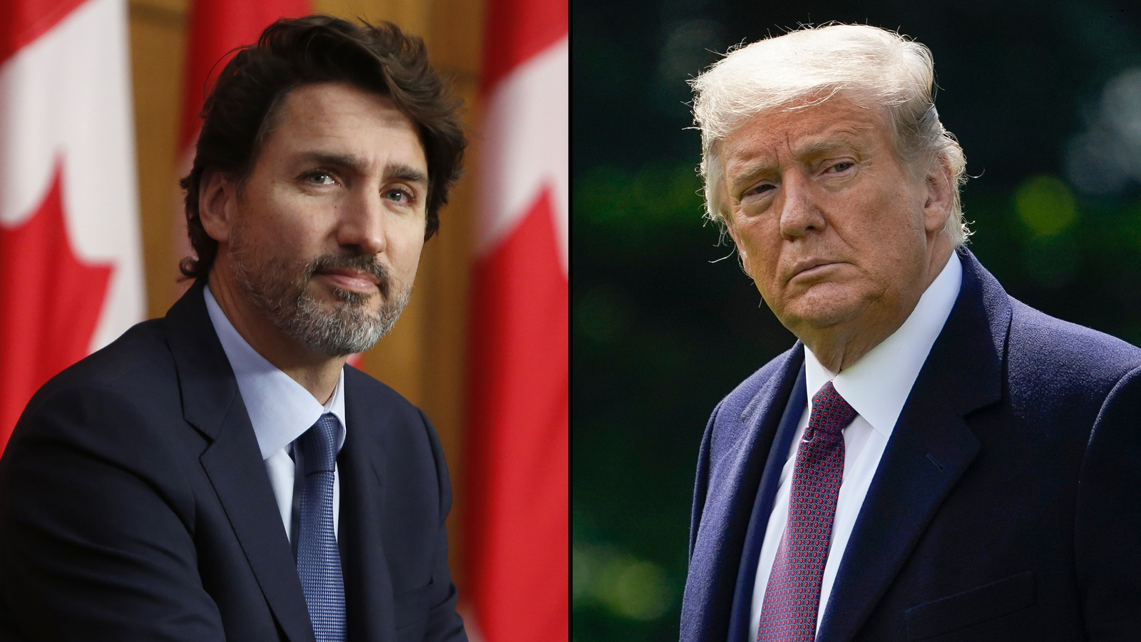 Canadian Prime Minister Justin Trudeau, left, and US President Donald Trump.