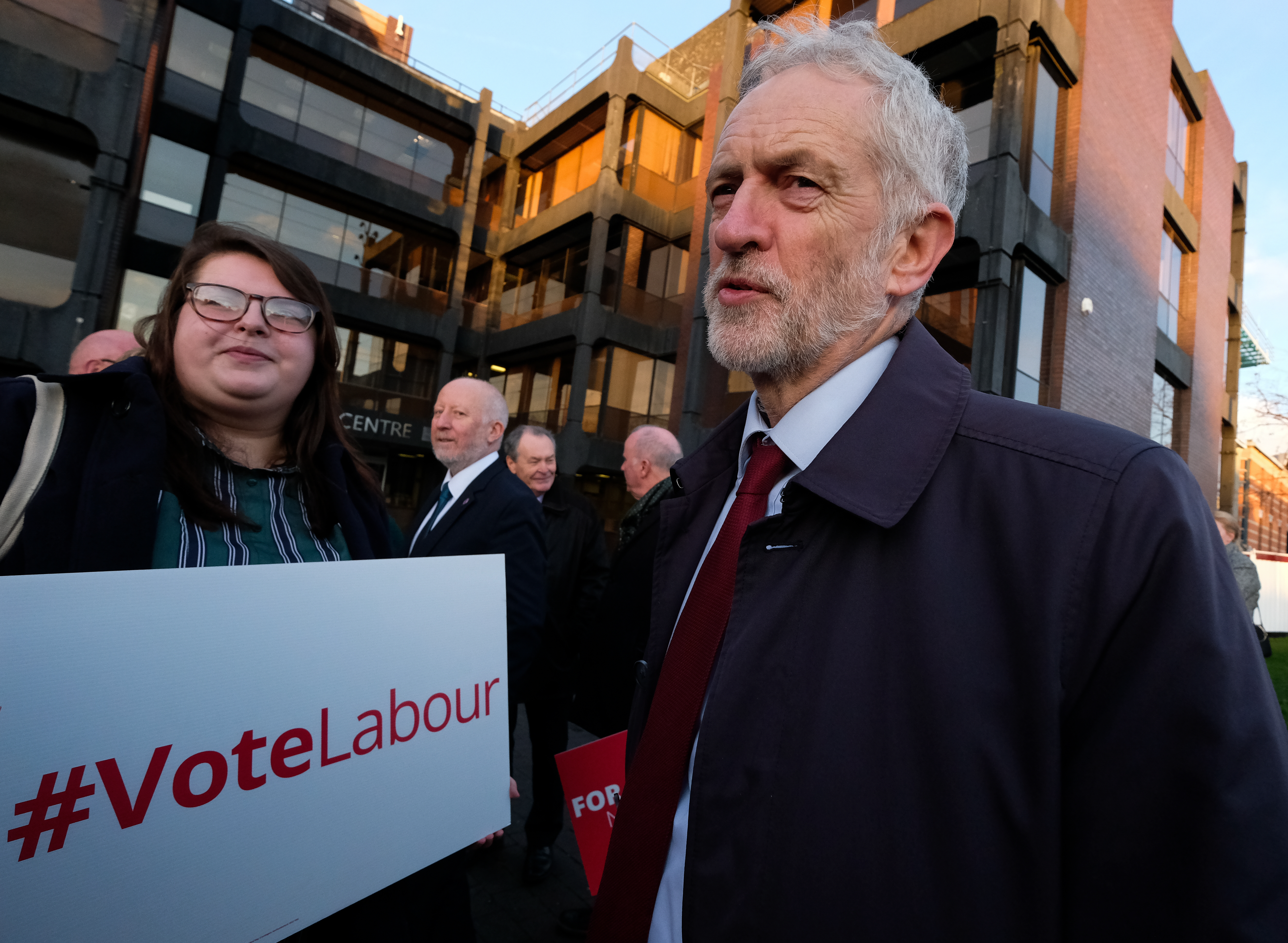 Labour leader Jeremy Corbyn meets party supporters during a visit to Middlesbrough on January 25.