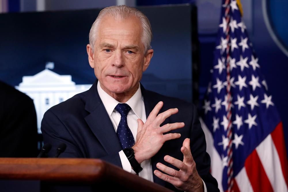 White House trade adviser Peter Navarro at the White House on Thursday, April 2, in Washington.