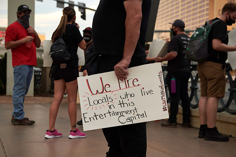 Events and entertainment workers gather in a protest to bring attention to their labor and unemployment on August 19, 2020 in Las Vegas, Nevada.