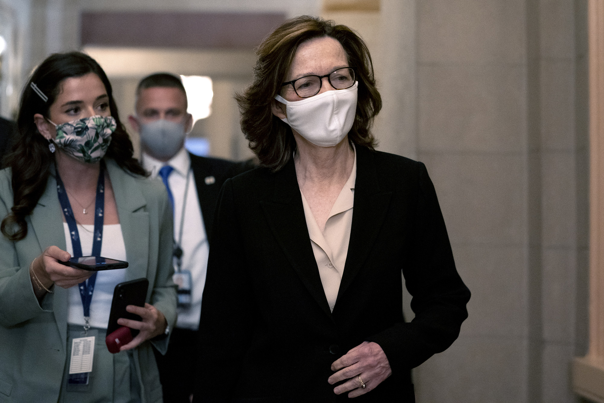 Gina Haspel, director of the Central Intelligence Agency, right, arrives for a meeting at the U.S. Capitol in Washington, D.C., on November 10.