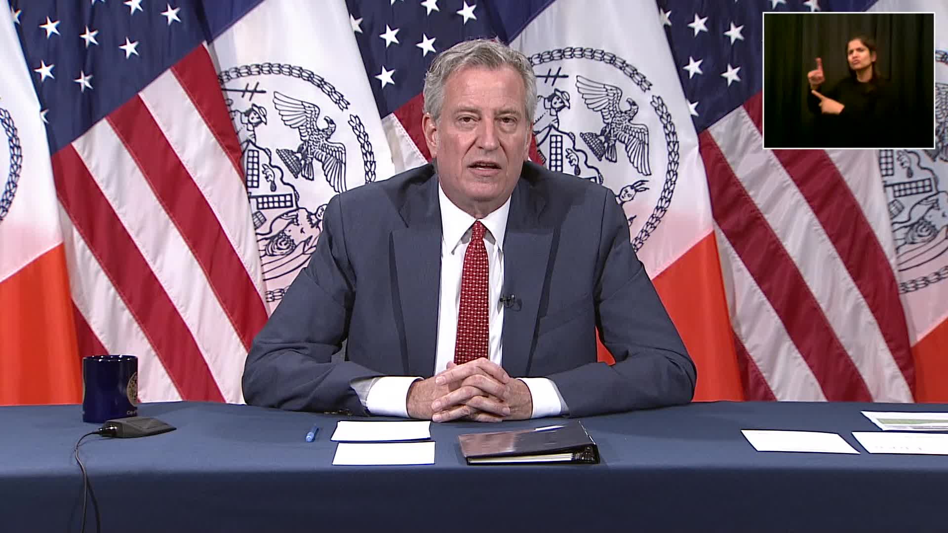 New York CIty Mayor Bill de Blasio speaks during a press conference in New York on June 17.