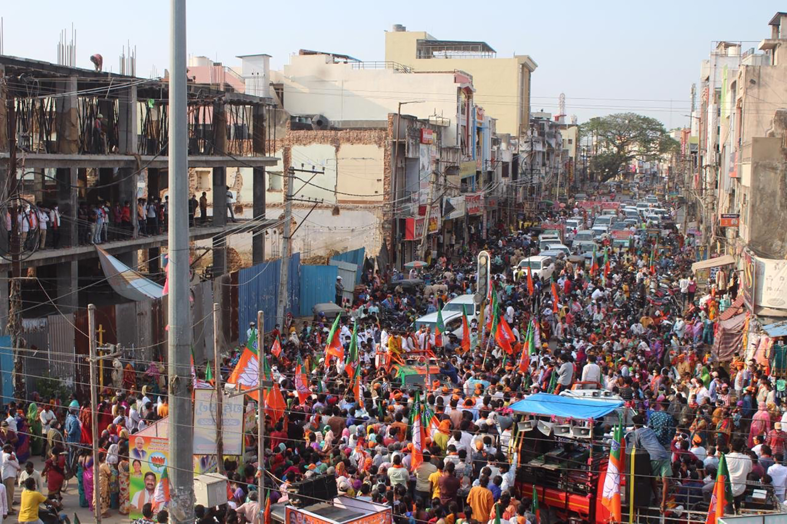 Crowds of people gathered at rallies in Greater Warangal Municipal Corporation
