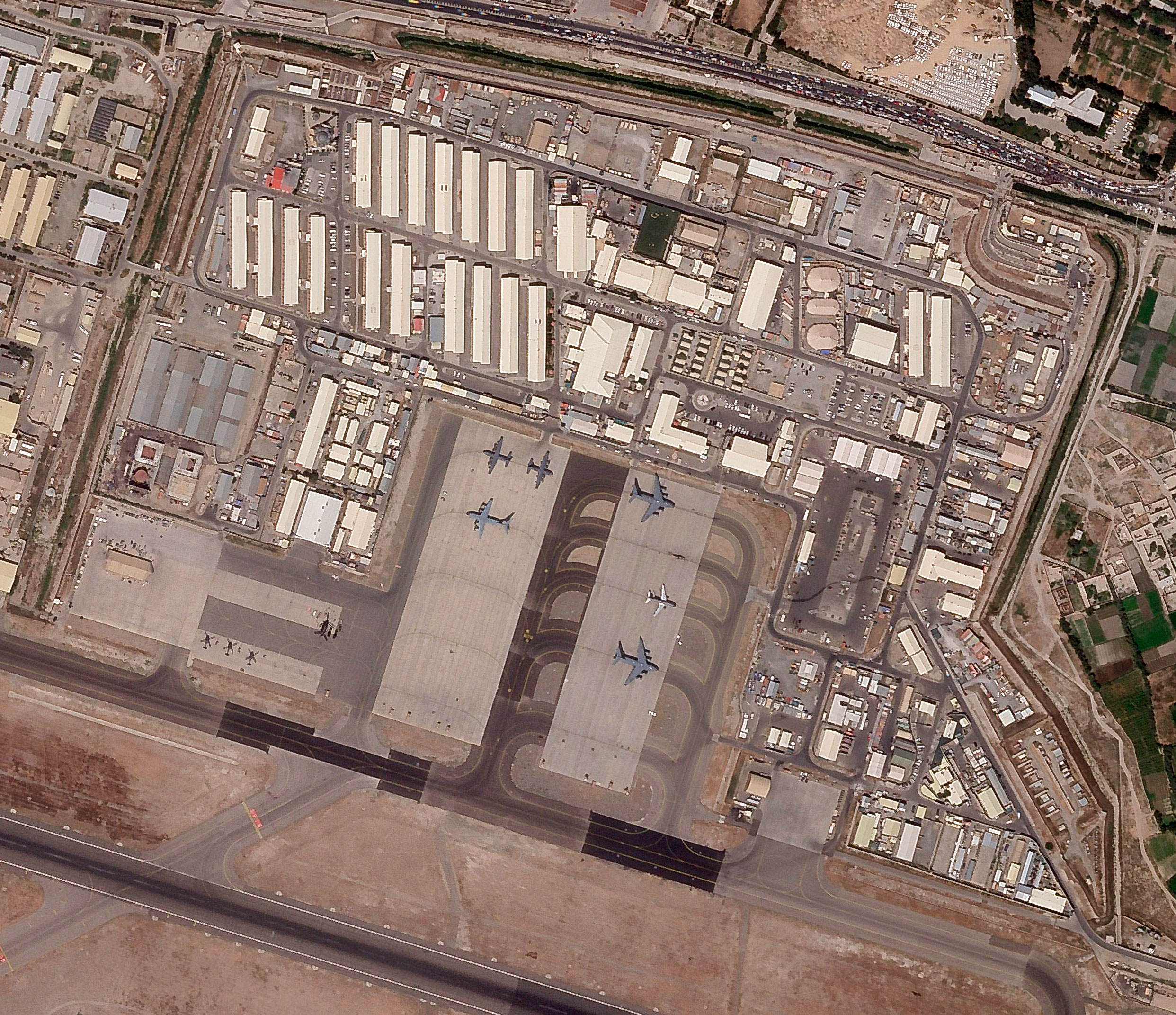 This satellite photo provided by Planet Labs shows the military side of Hamid Karzai International Airport in Kabul, Afghanistan, on August 17, 2021.