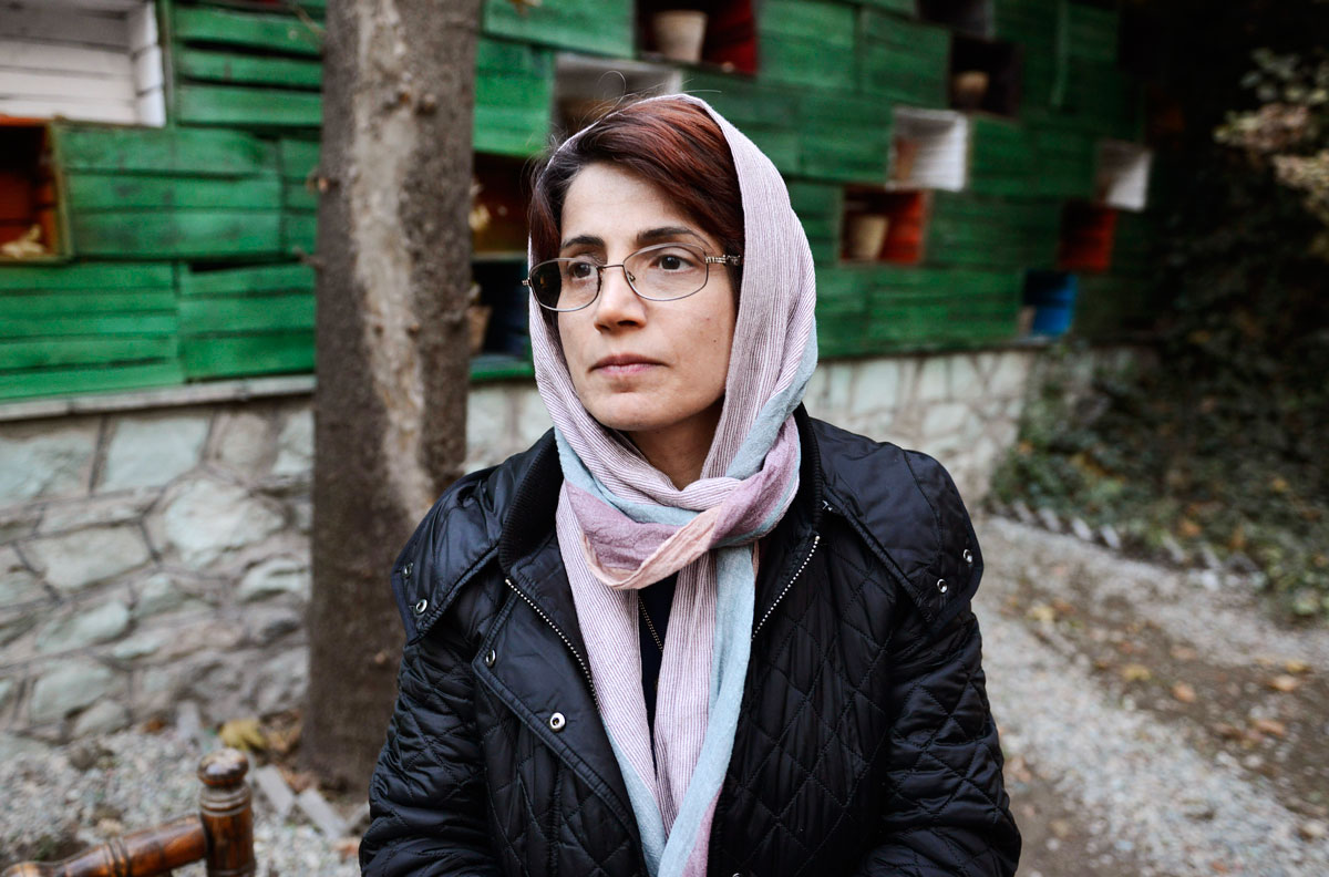 Human rights lawyer Nasrin Sotoudeh is photographed in the garden of her office on December 9, 2014 in Tehran, Iran.