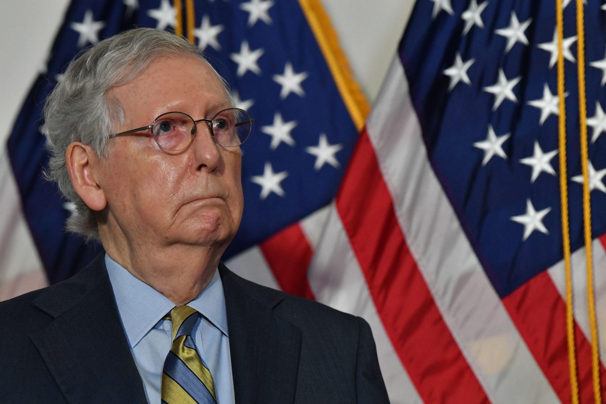 US Senate Majority Leader Mitch McConnell speaks at a press conference at the US Capitol on September 22 in Washington, DC.
